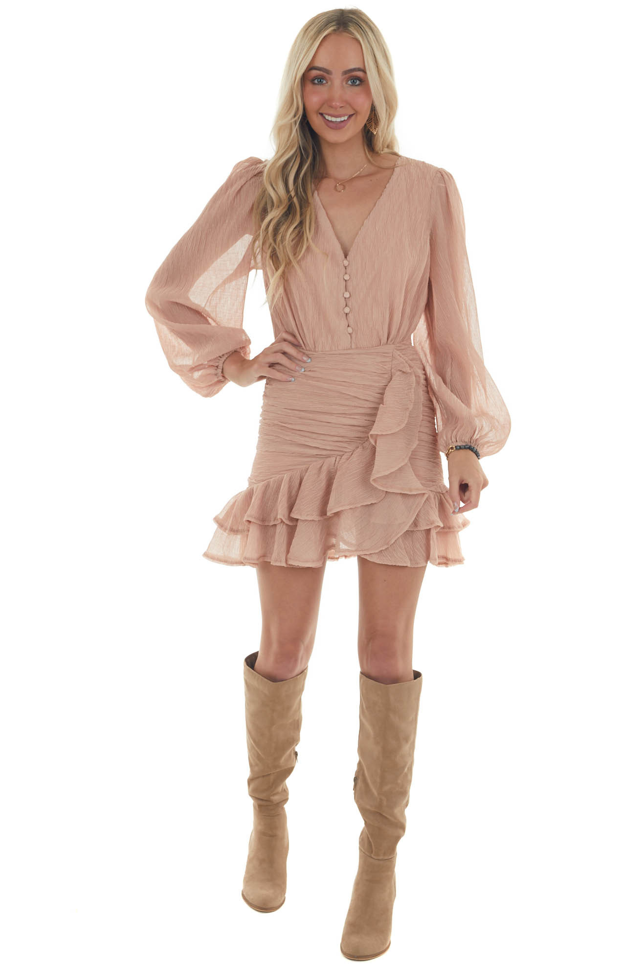 Dusty Apricot Textured Button Up Ruffle Dress
