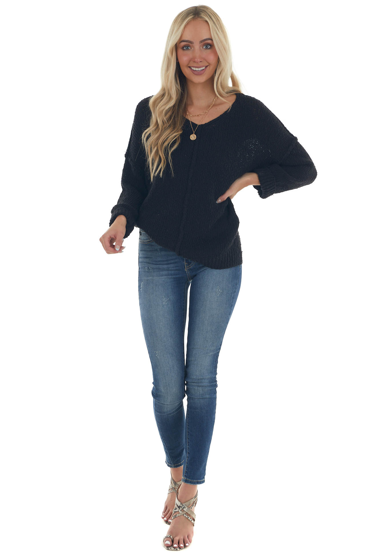 Black Drop Shoulder Sleeve Thick Knit Sweater