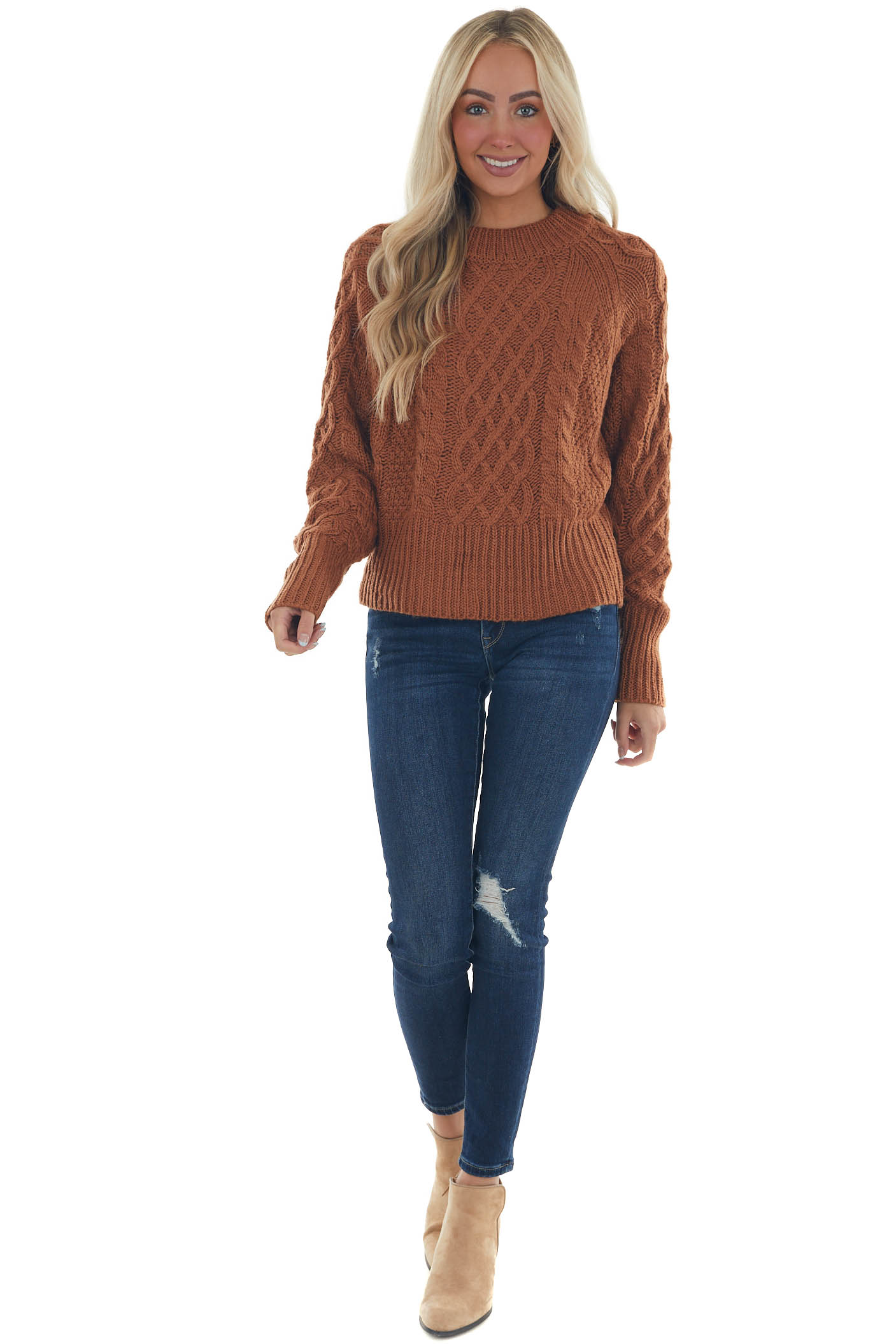 Spice Brown Long Sleeve Cable Knit Sweater
