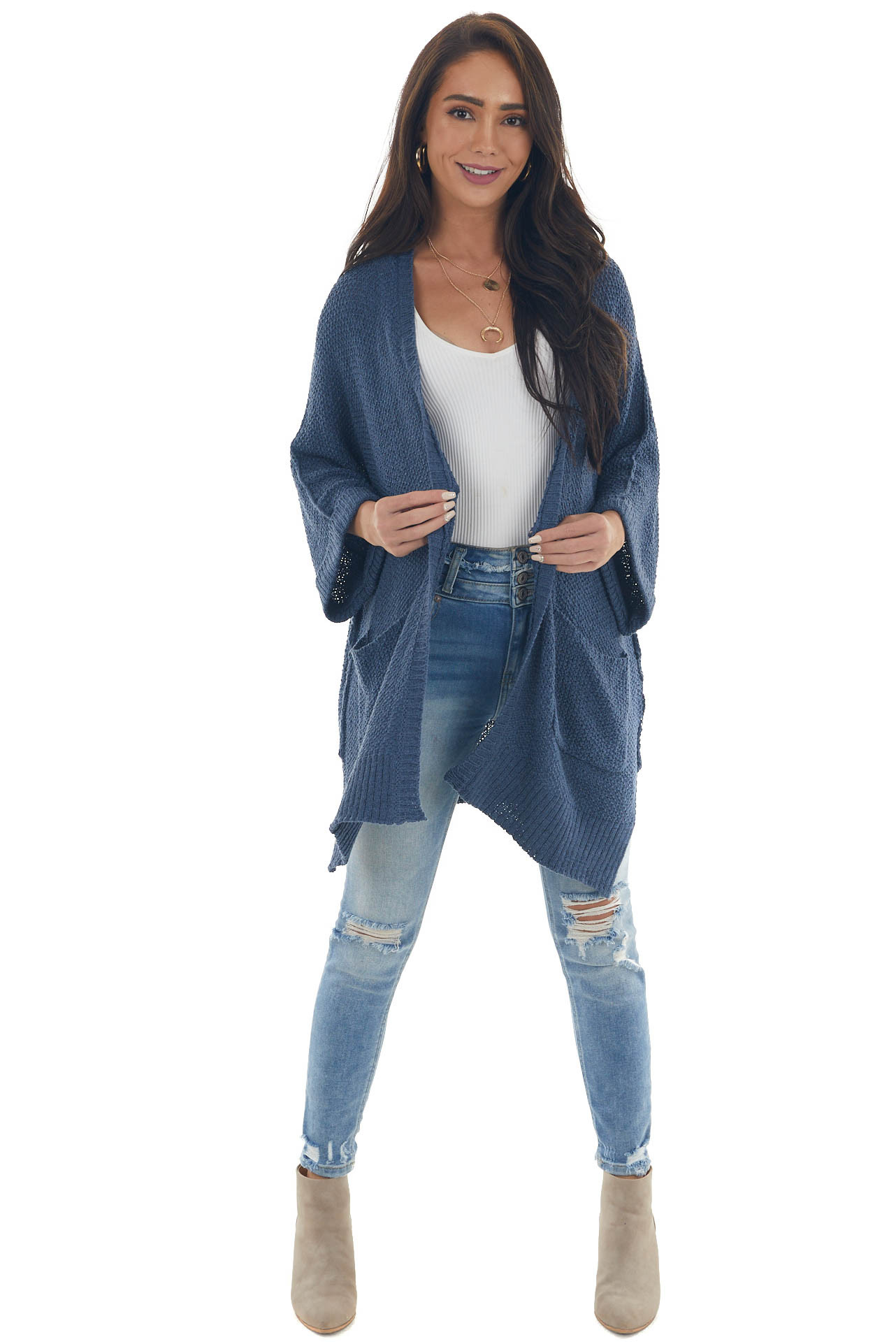 Steel Blue Loose Sleeve Cardigan with Pockets