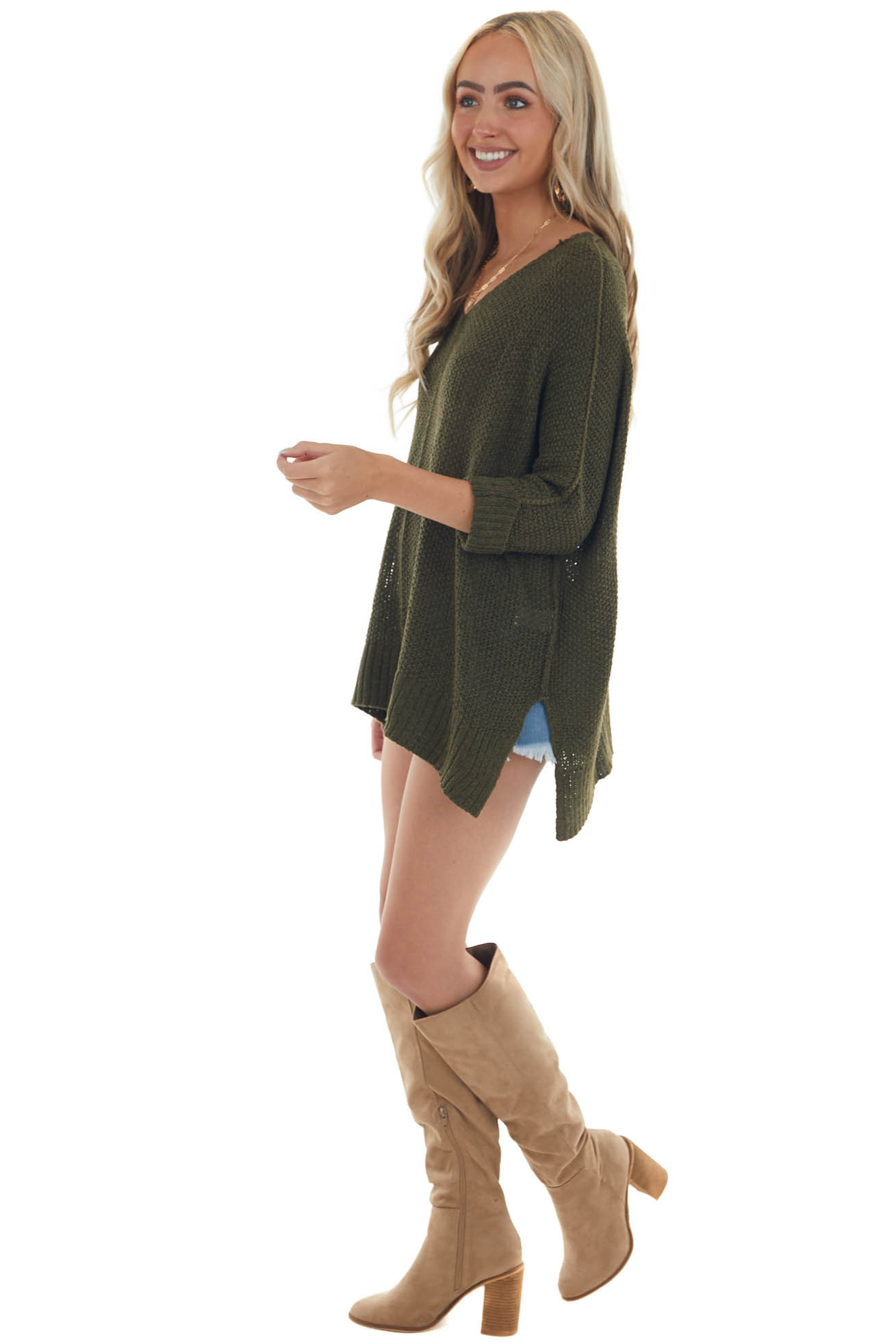 Deep Olive 3/4 Sleeve Oversized Sweater with Folded Cuffs