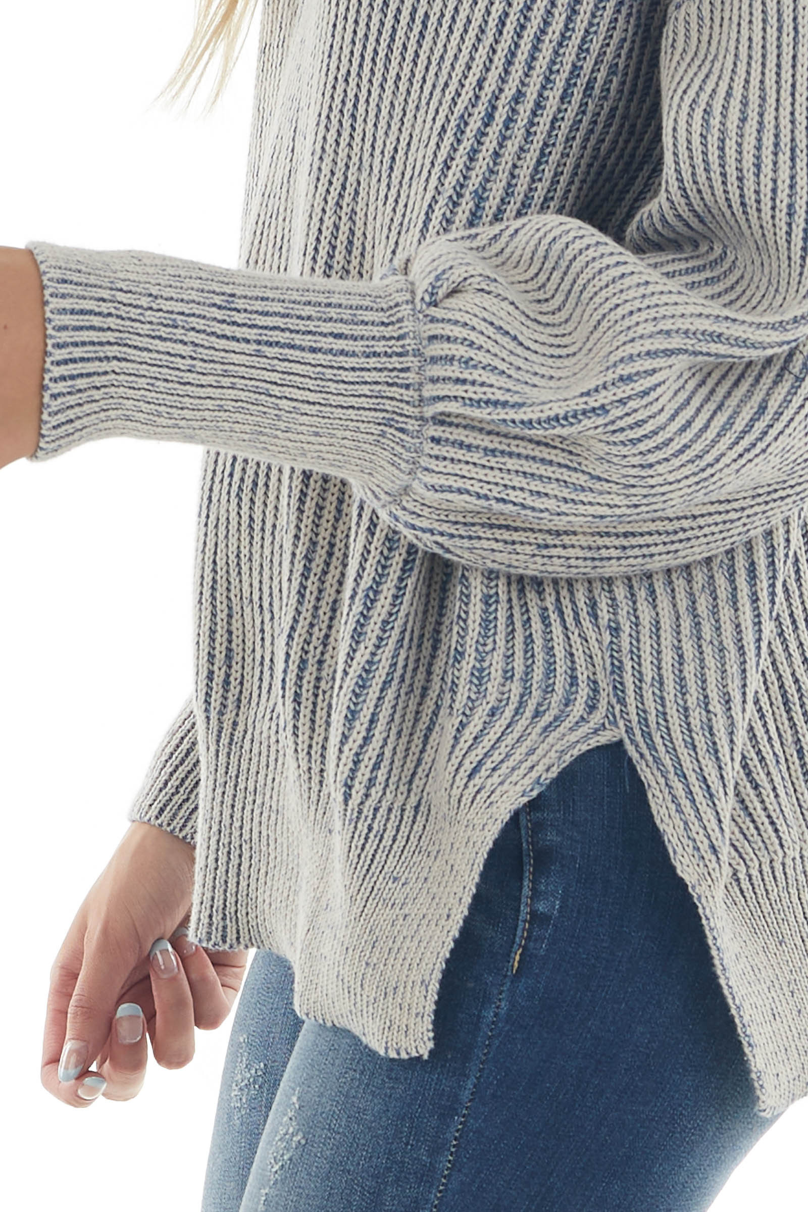 Navy and Coconut Striped Knit Sweater