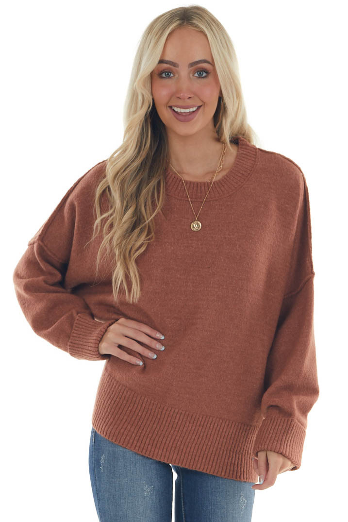 Ginger Soft Knit Oversized Ribbed Trim Sweater