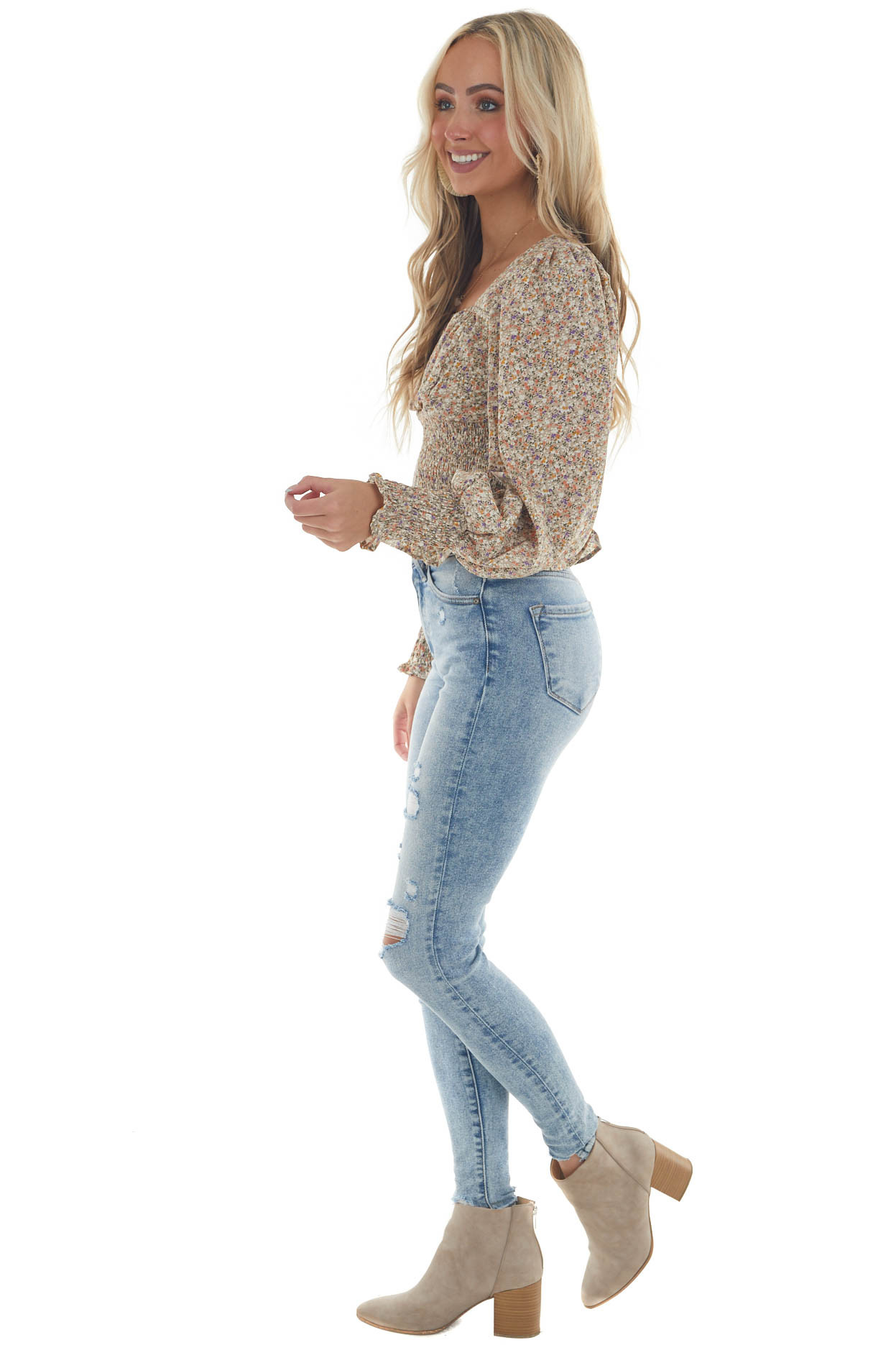 Oatmeal Ditsy Floral Puff Sleeve Peplum Blouse