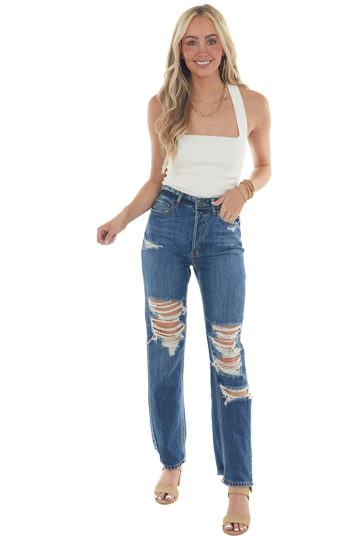 Medium Wash High Rise Heavily Distressed Jeans