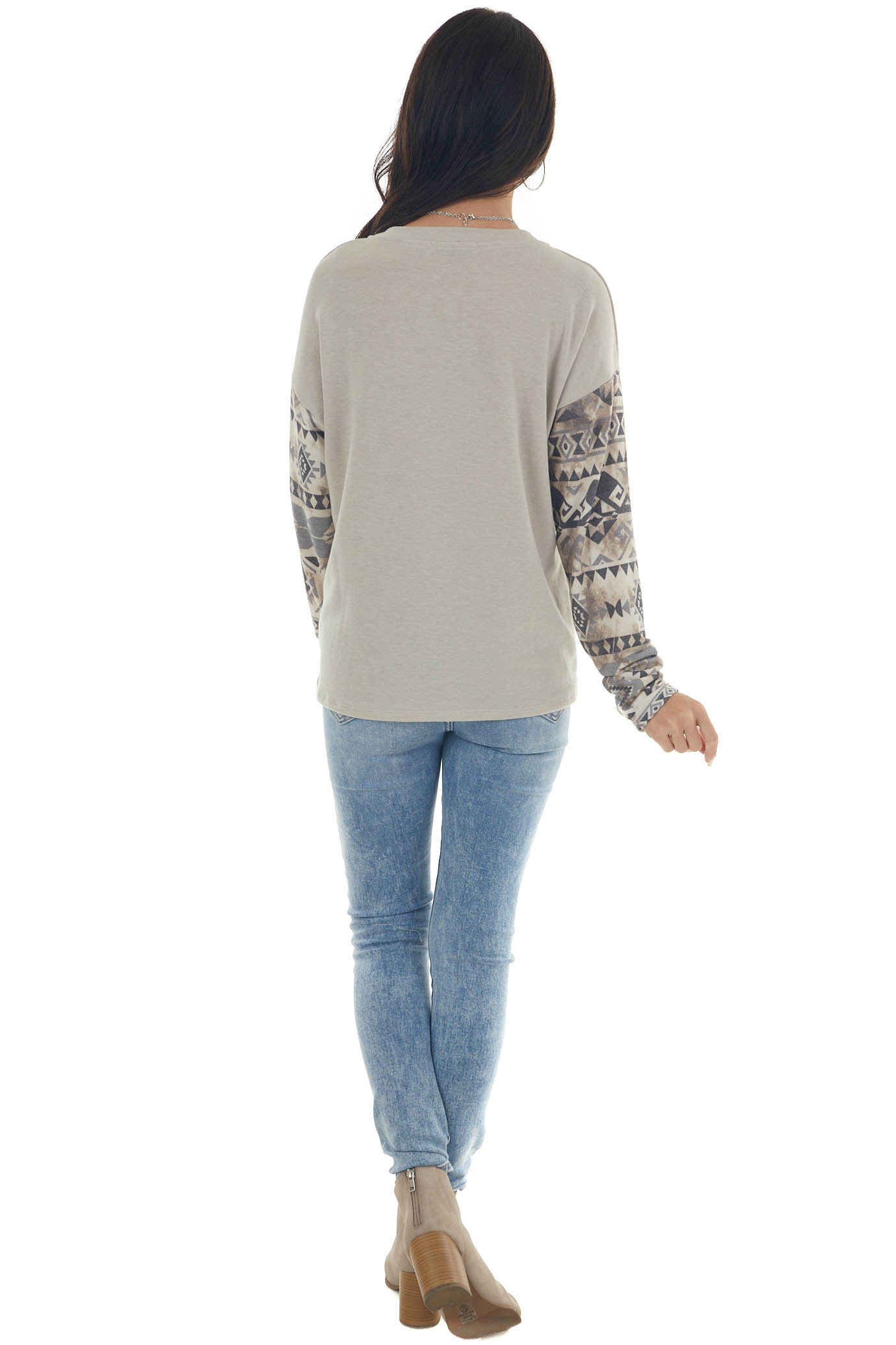 Oatmeal and Aztec Colorblock Long Sleeve Top