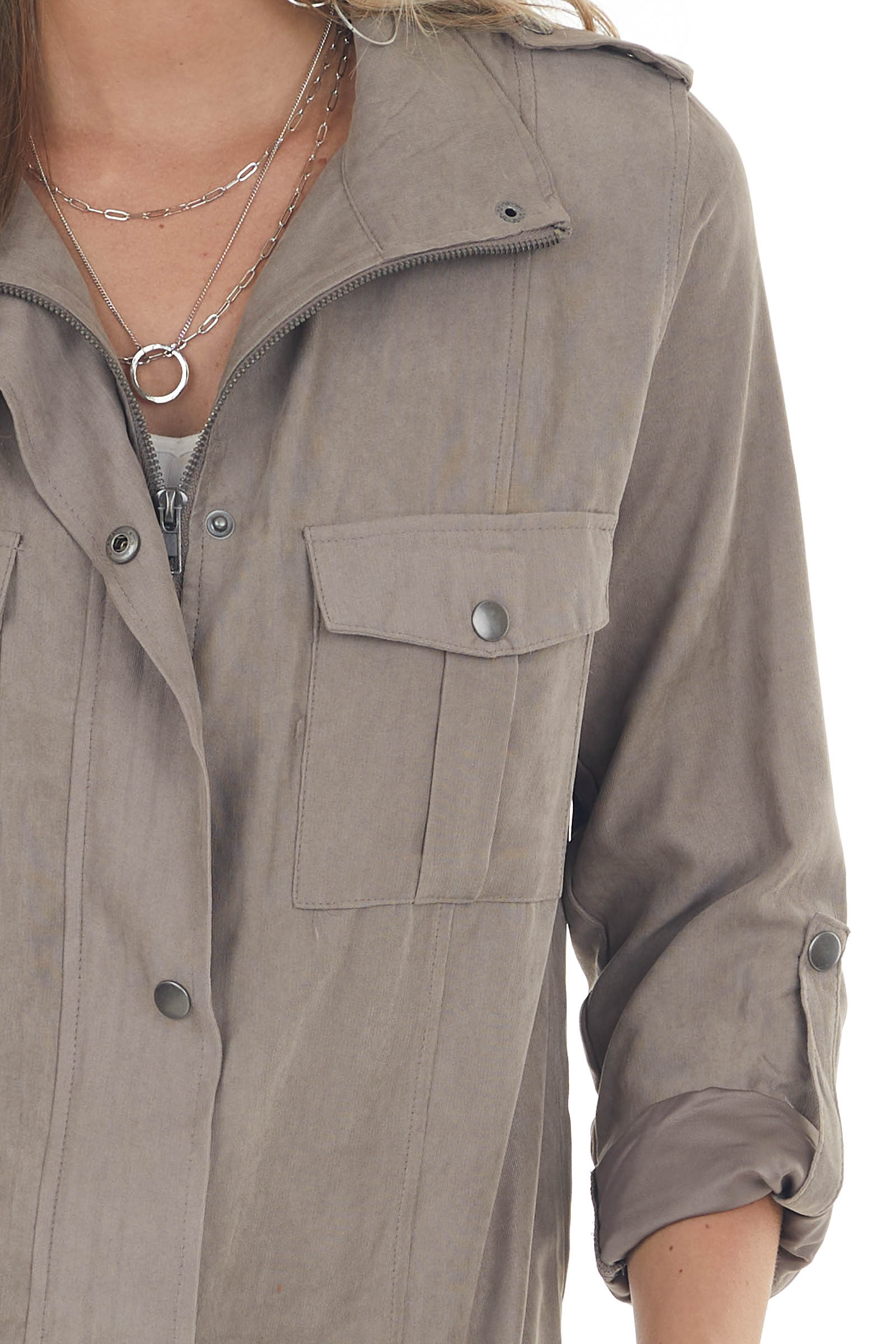 Light Taupe Faux Suede Utility Jacket