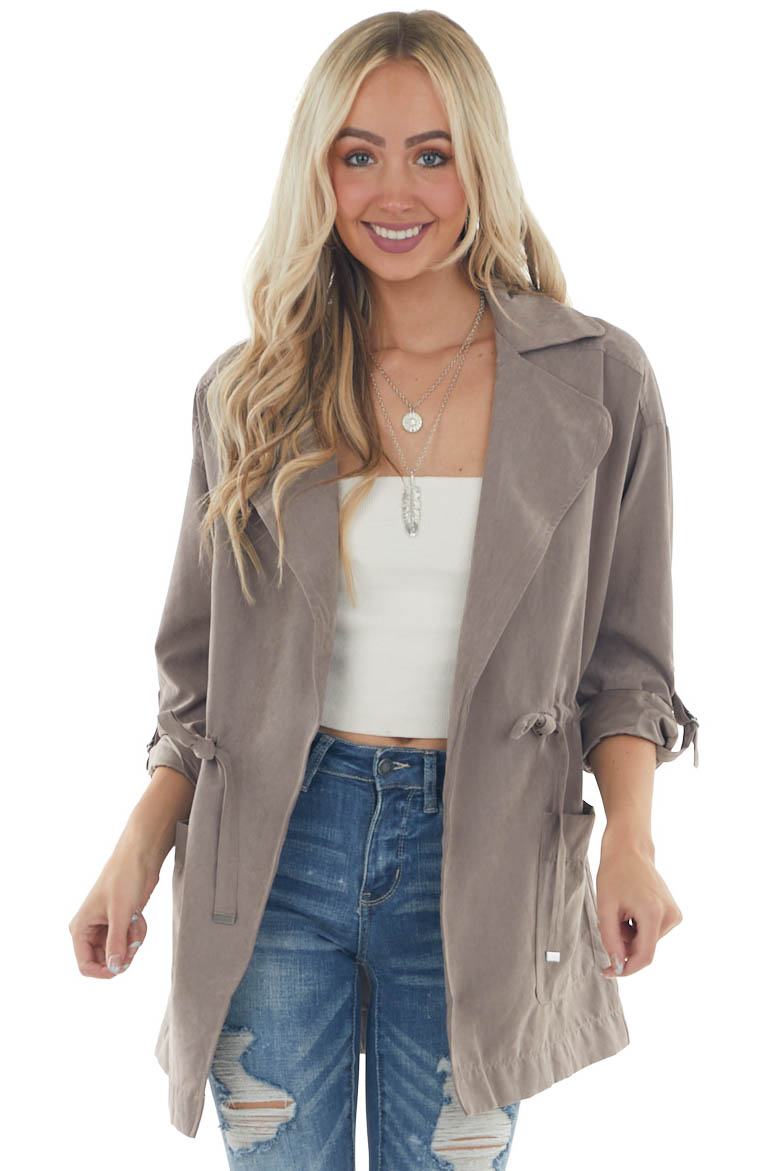 Light Taupe Suede Drawstring Trench Jacket