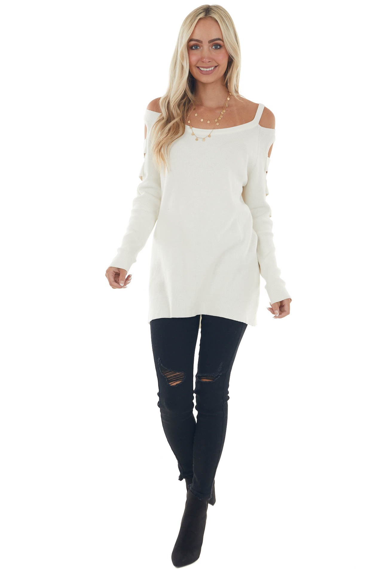 Ivory Ribbed Knit Sweater with Cut Out Sleeves