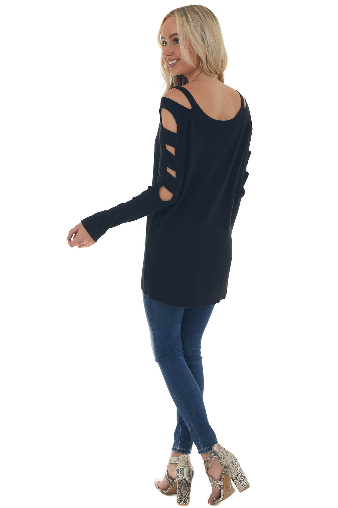 Black Ribbed Knit Sweater with Cut Out Sleeves