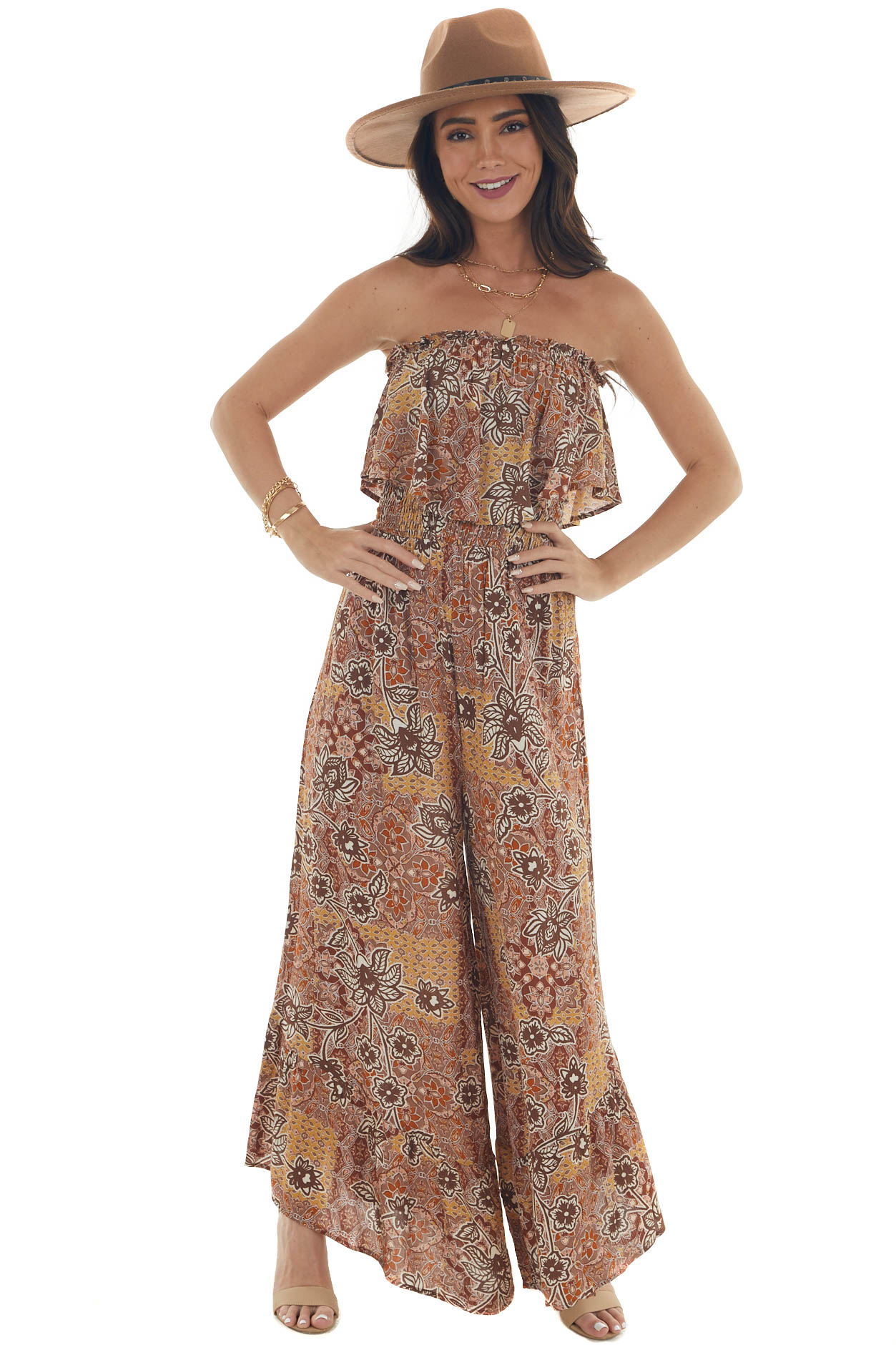 Spice Abstract Strapless Wide Leg Jumpsuit