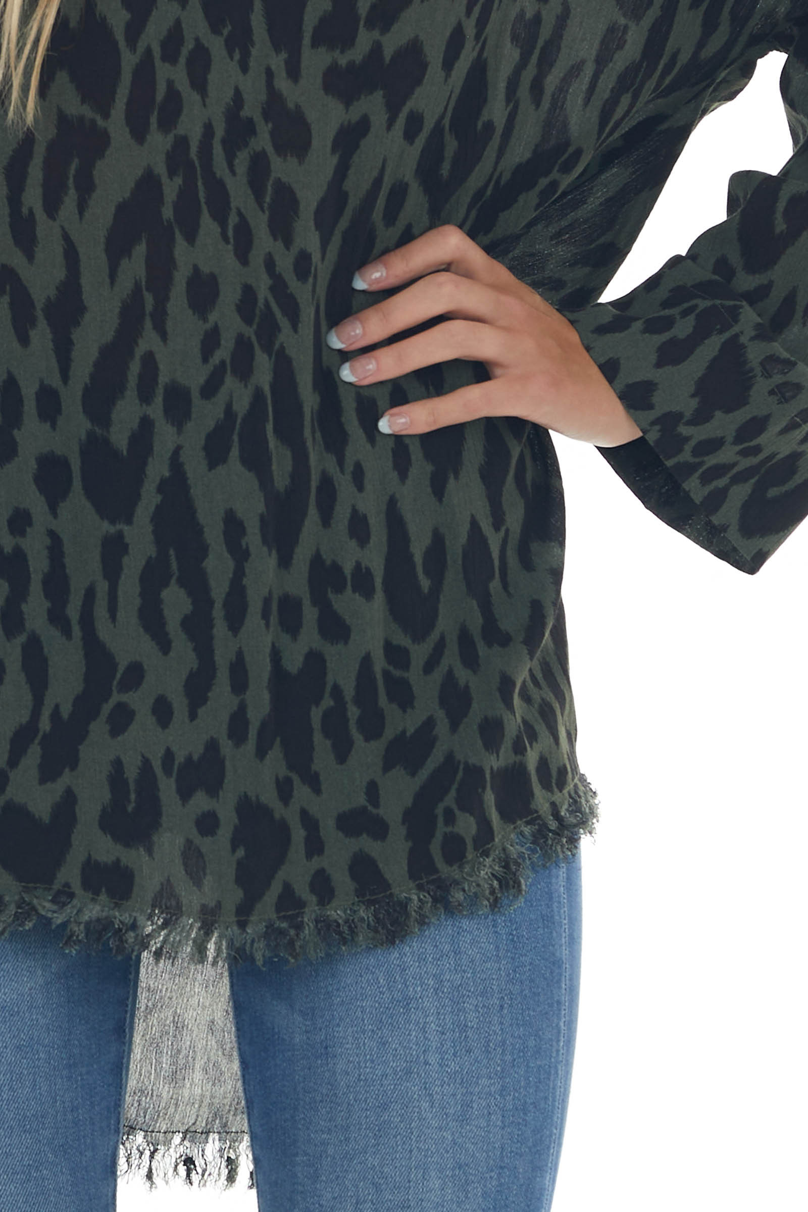 Forest Green Printed Collared Frayed Blouse