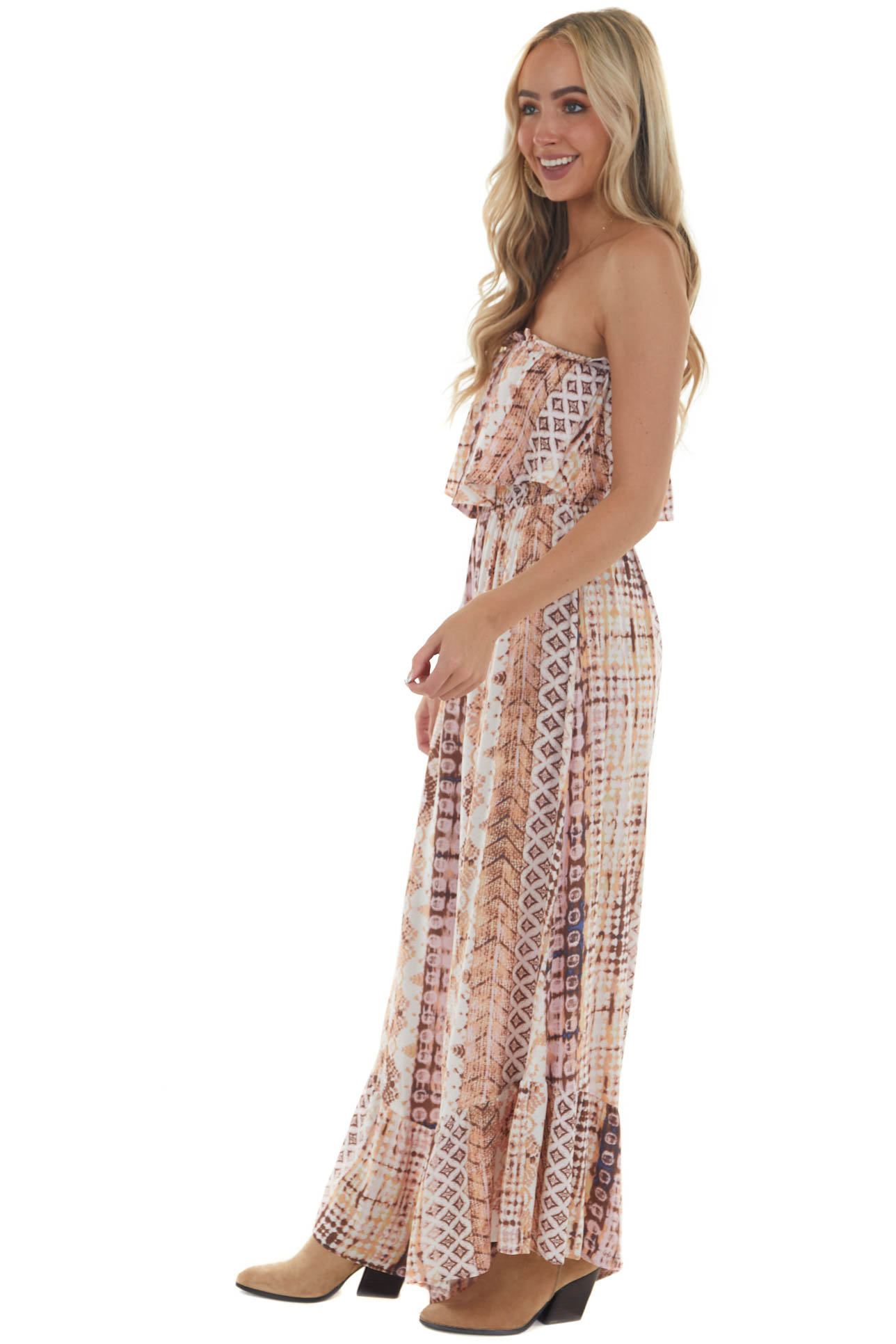 Pastel Pink Abstract Print Strapless Jumpsuit