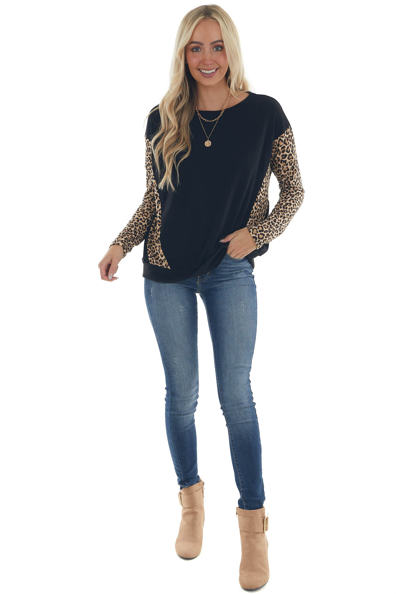 Black and Leopard Print Long Sleeve Knit Top