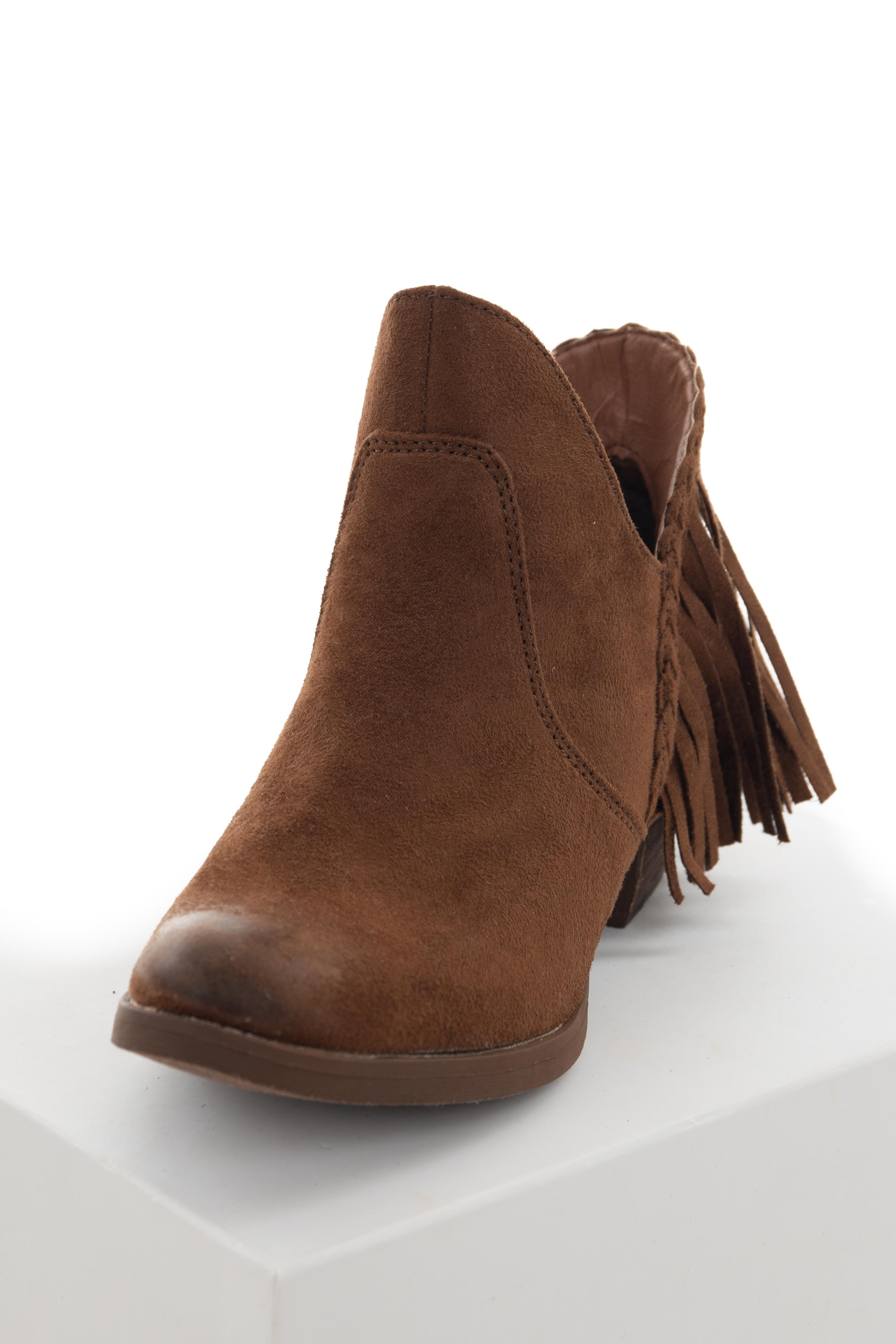Deep Sepia Plunging Ankle Booties with Fringe