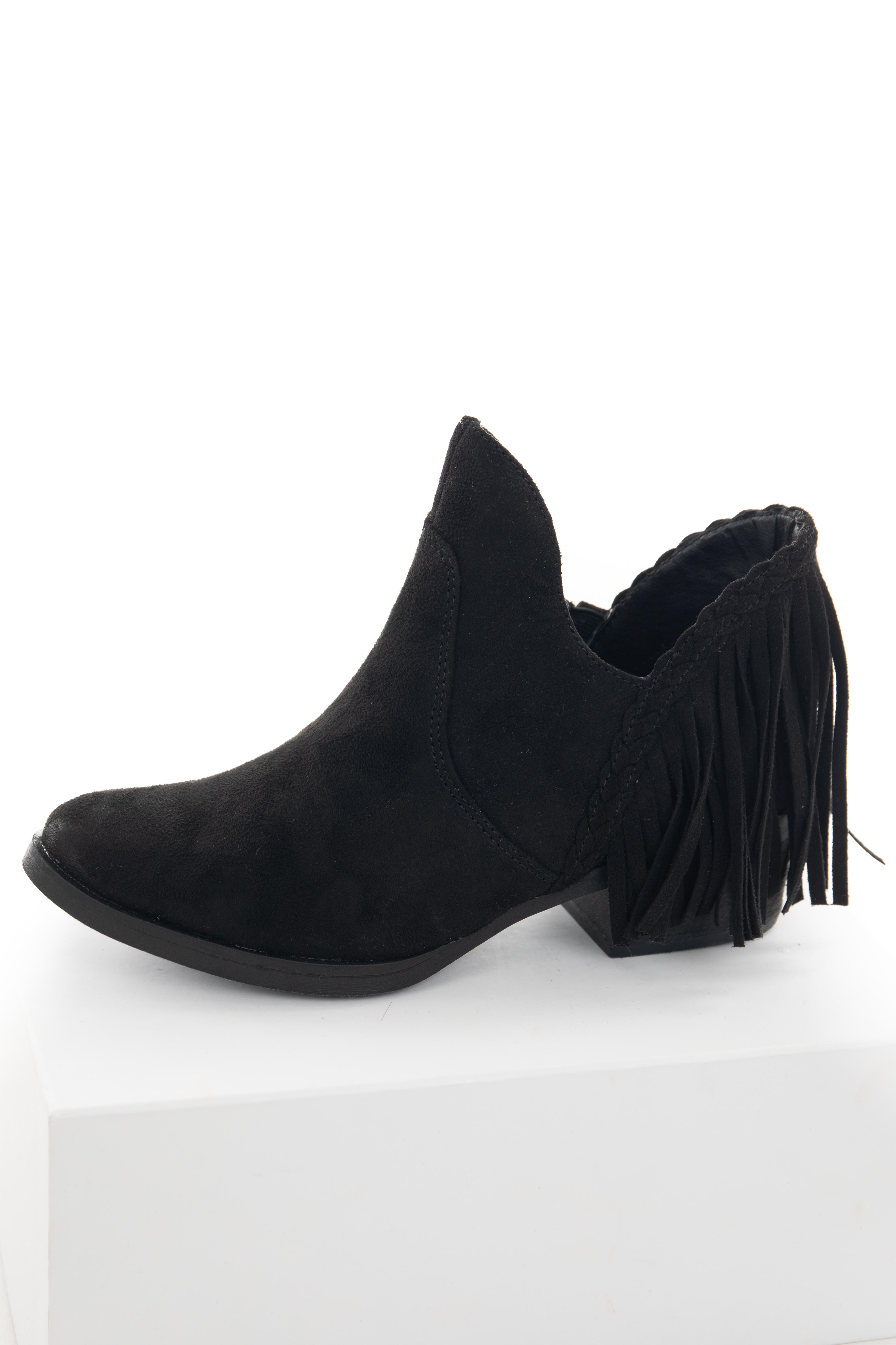 Black Plunging Ankle Booties with Fringe