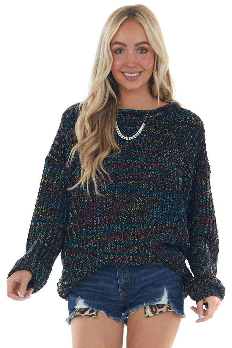 Black Multicolor Knit Sweater with Round Neck