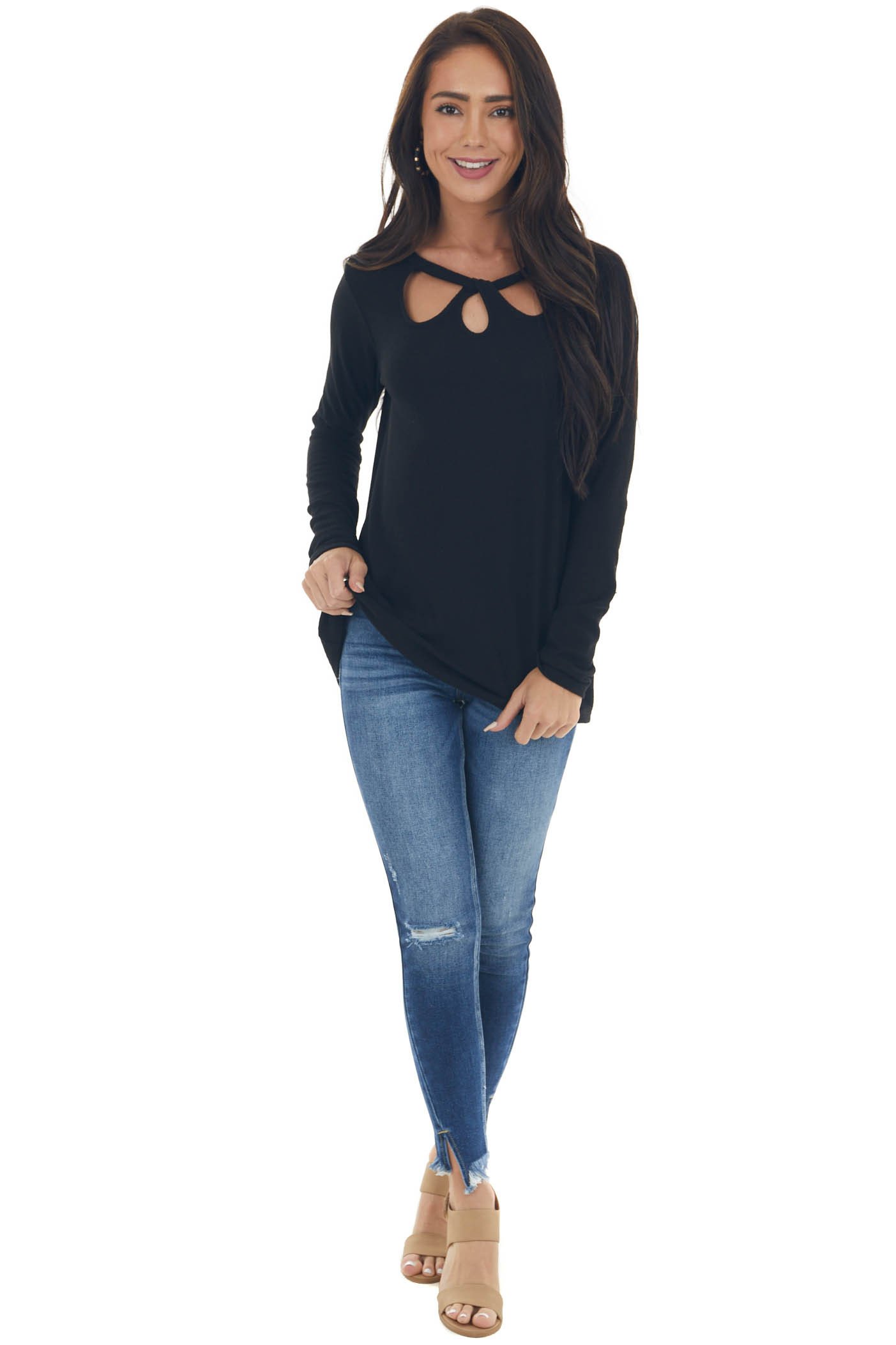 Black Long Sleeve Cut Out Neck Loose Fit Top