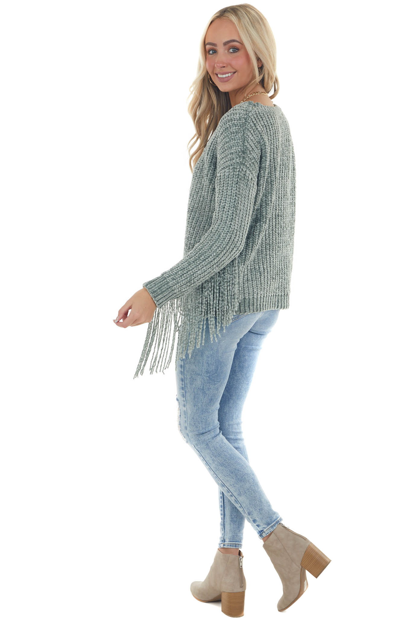 Sage Super Soft Chenille Sweater with Fringe