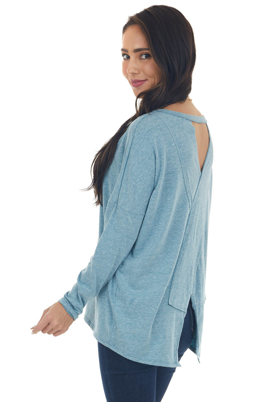 Heathered Blue Criss Cross Back Cut Out Top