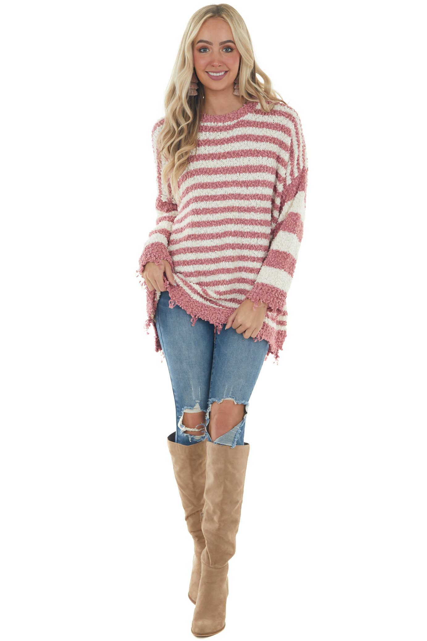 Old Rose and Ivory Striped Distressed Sweater