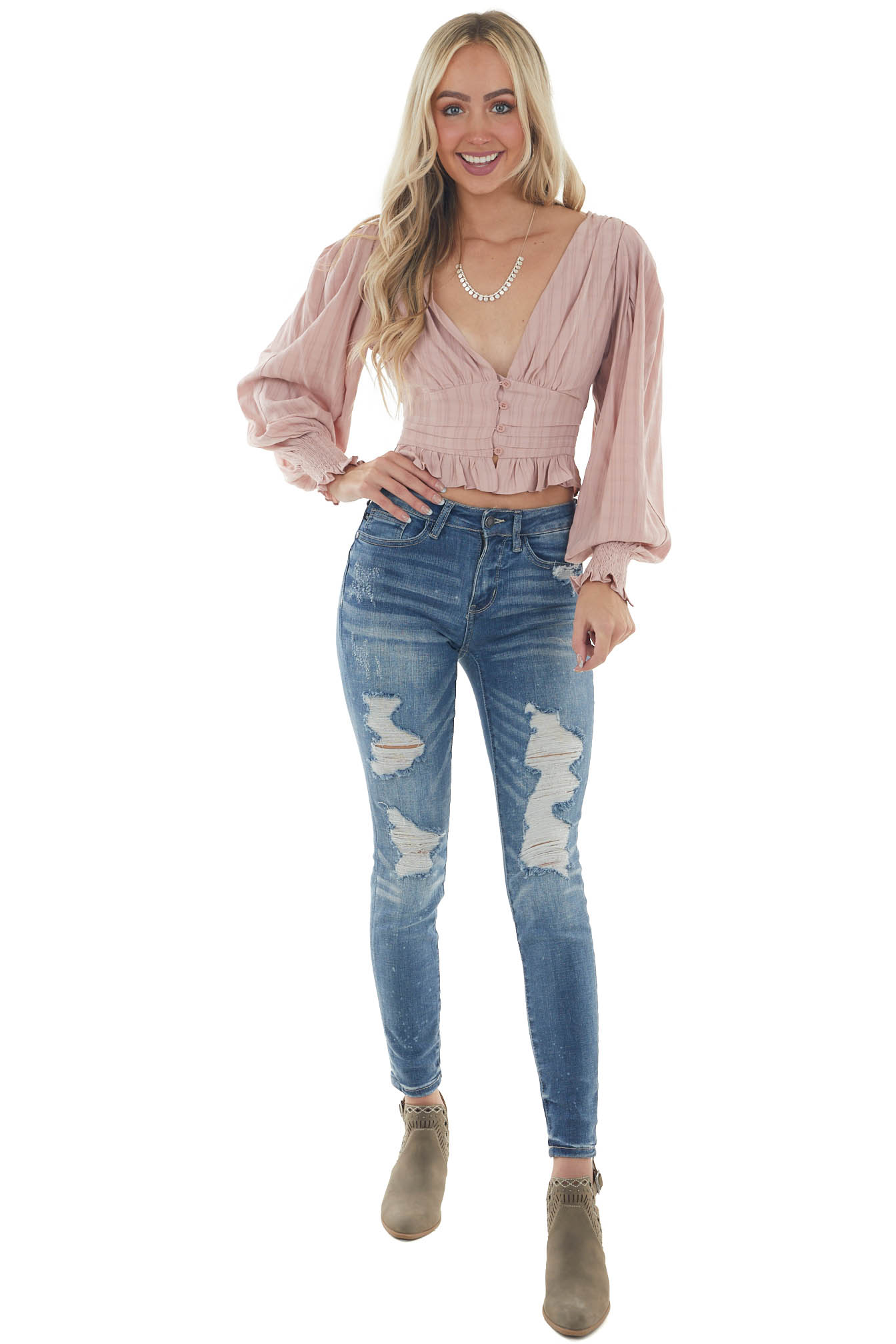 Dusty Rose Puff Sleeve Plunging Neck Blouse