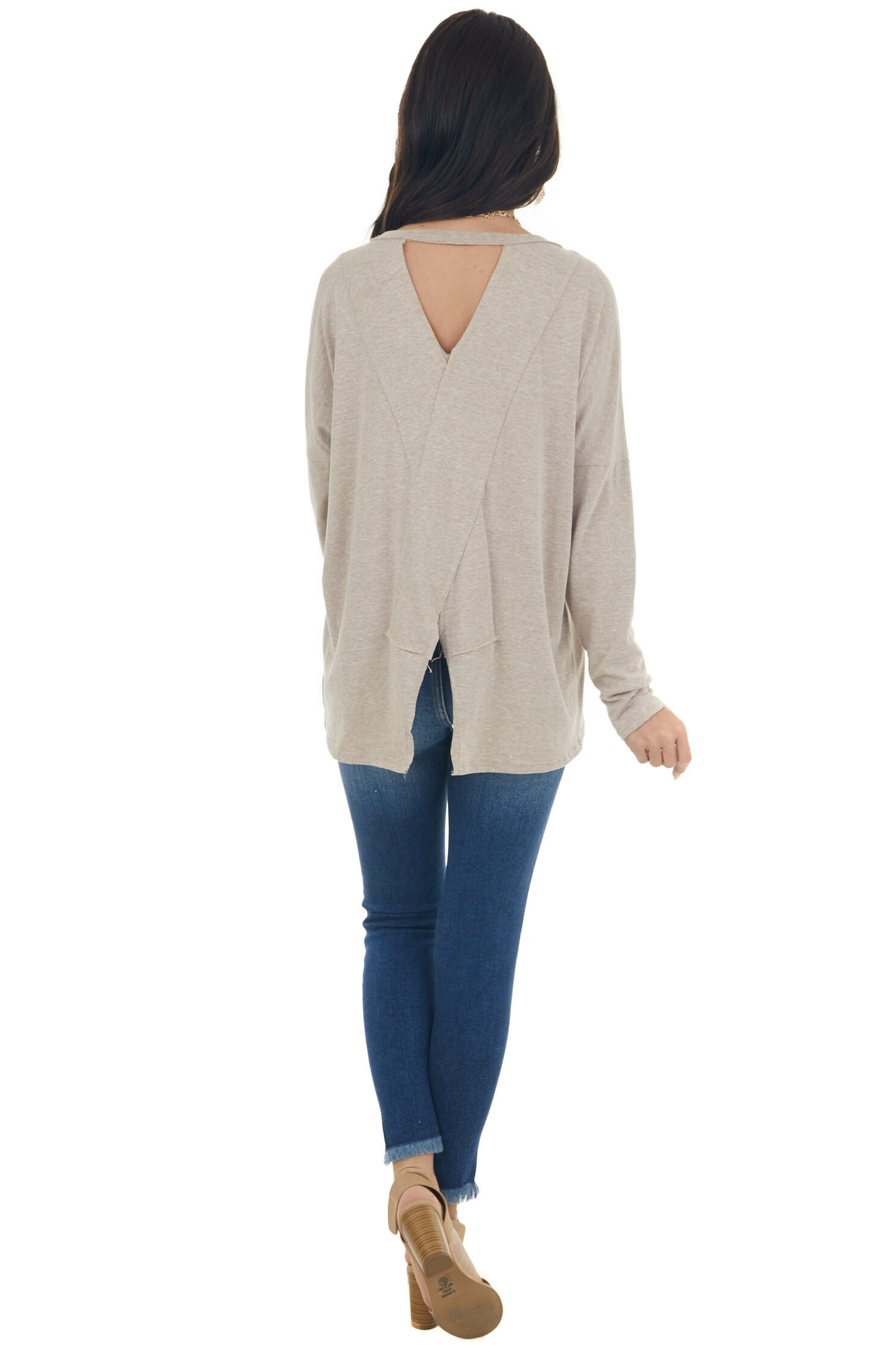 Heathered Latte Criss Cross Back Cut Out Top