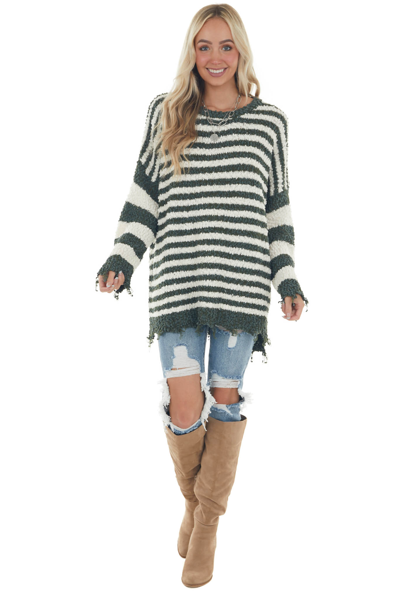 Forest and Ivory Striped Distressed Sweater
