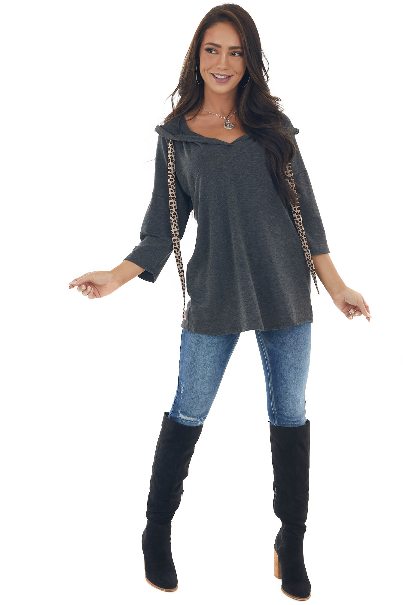 Charcoal Hooded Top with Leopard Drawstrings