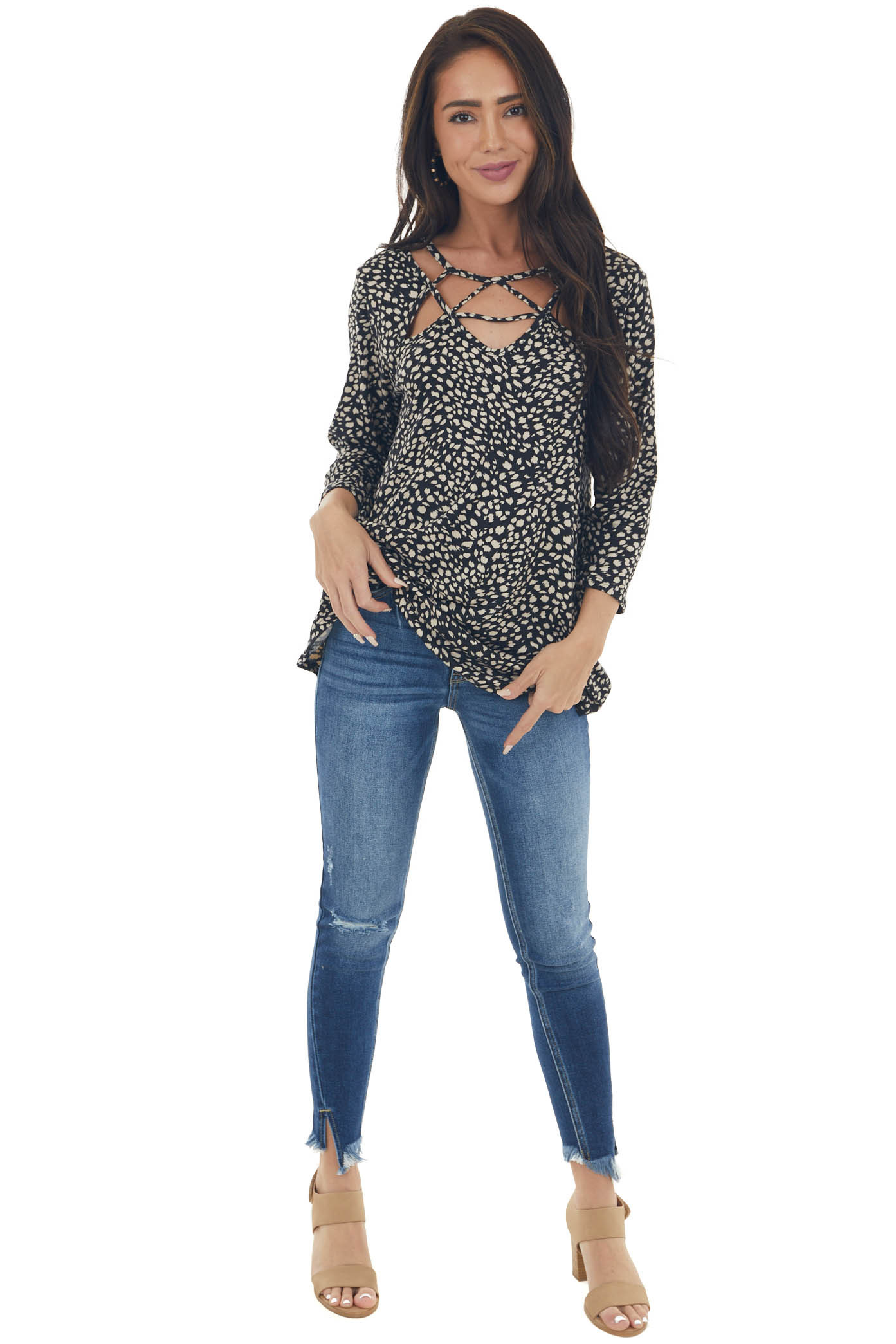 Black Animal Print Strappy Cut Out Knit Top