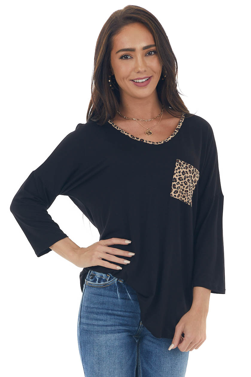 Black and Leopard Contrast Strappy Back Top