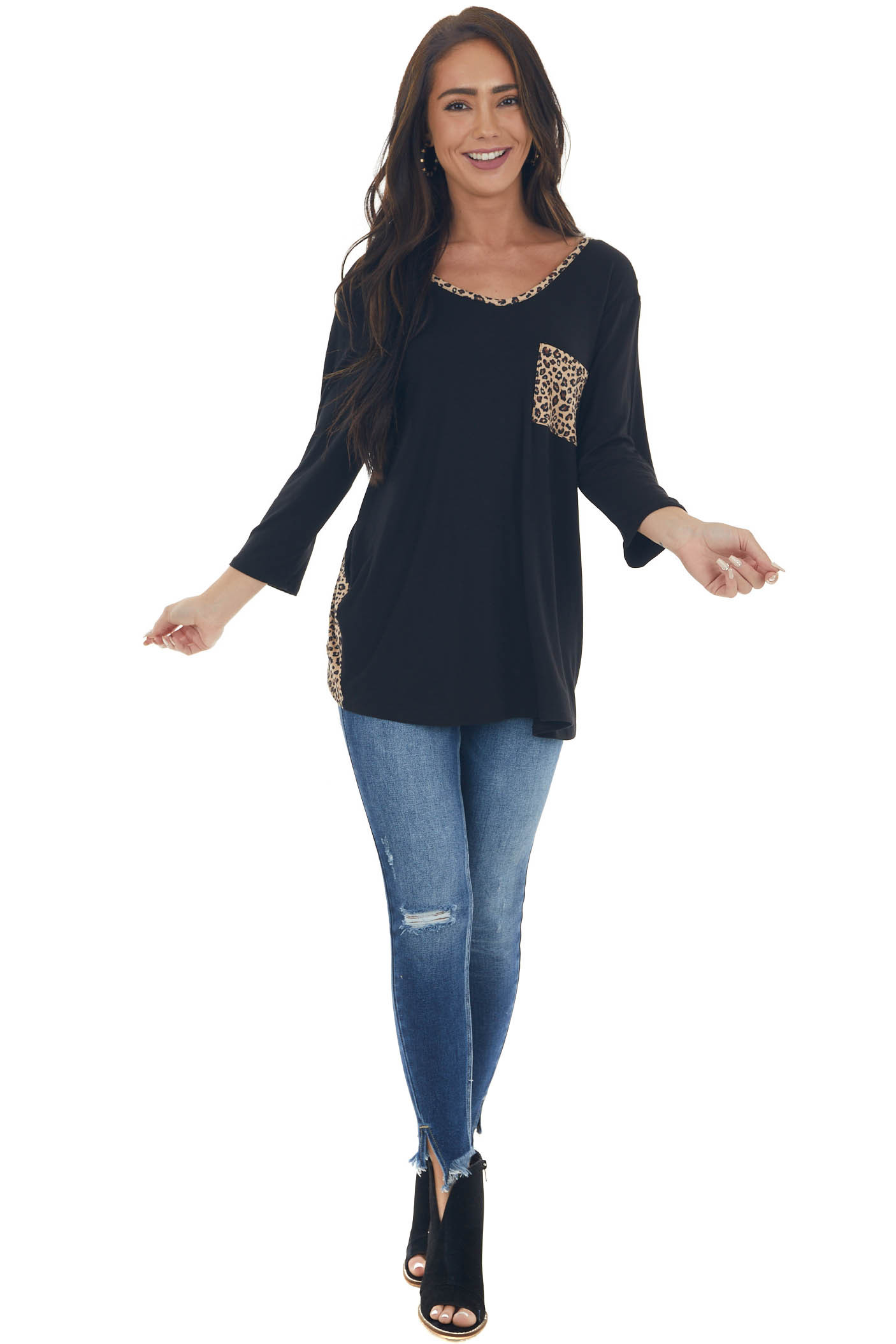 Black and Leopard Overlaying Open Back Top