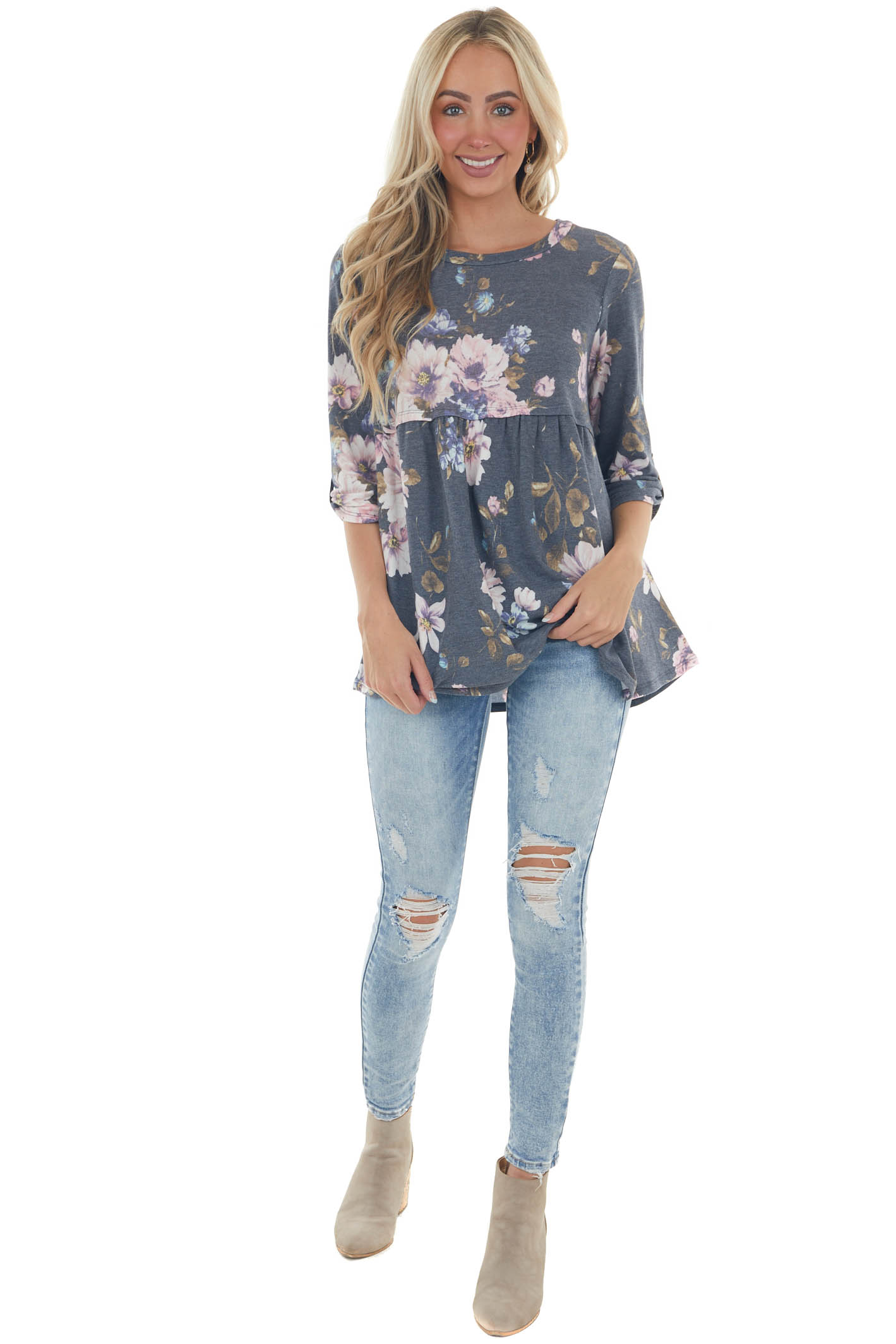 Faded Navy Floral Print Babydoll Knit Top