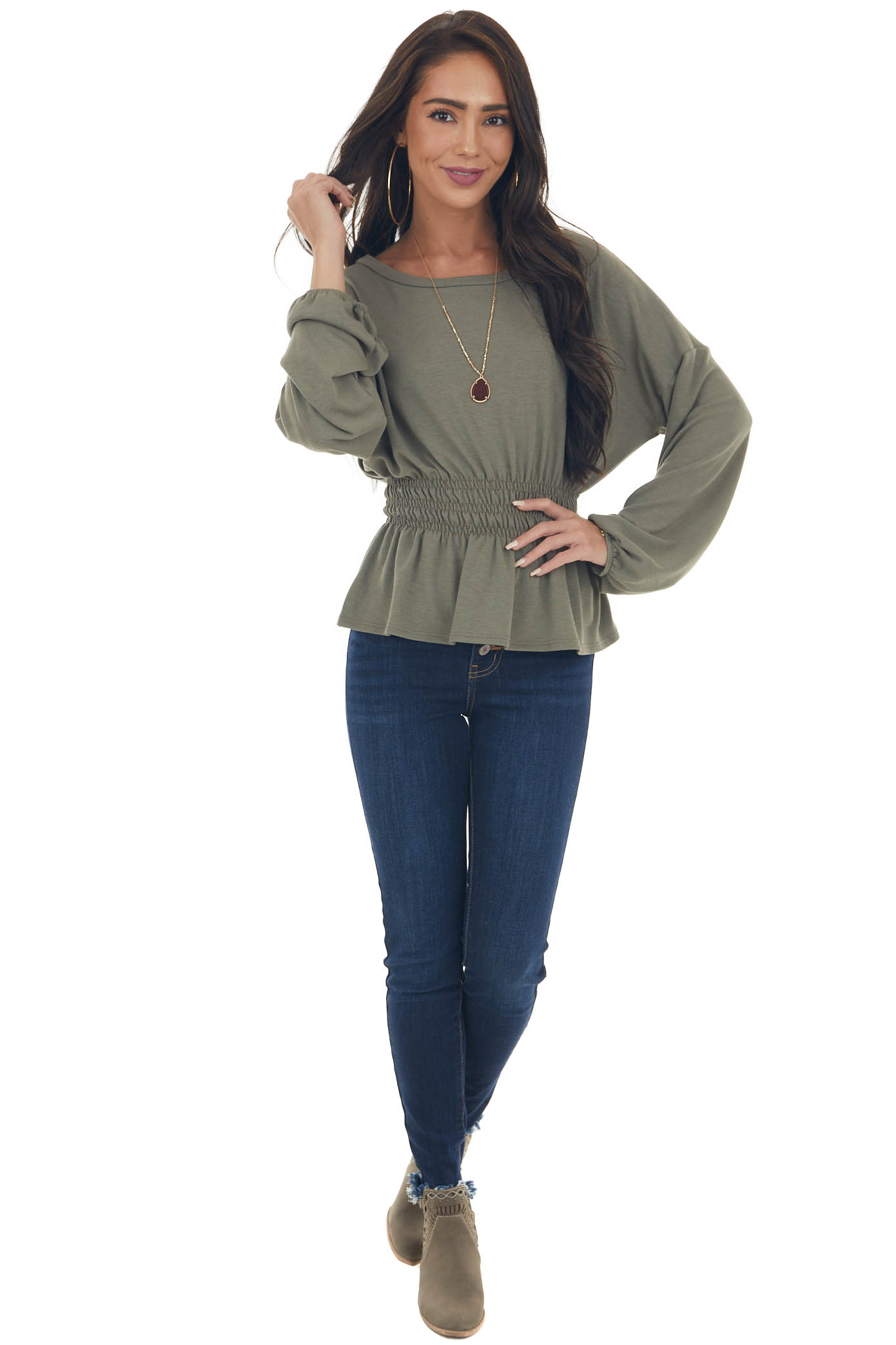Faded Olive Peplum Knit Top with Long Sleeves