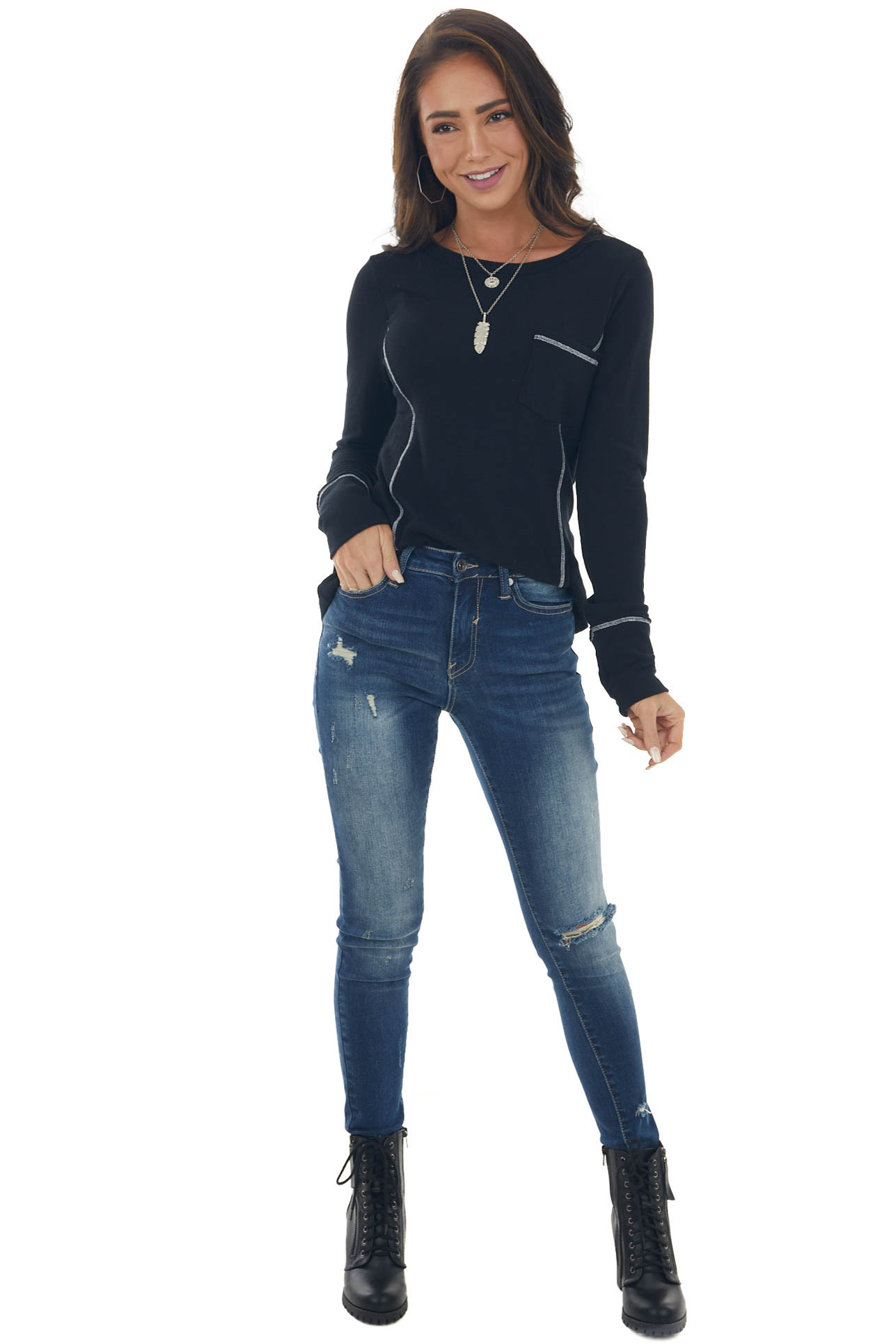 Black Long Sleeve Exposed Stitching Knit Top