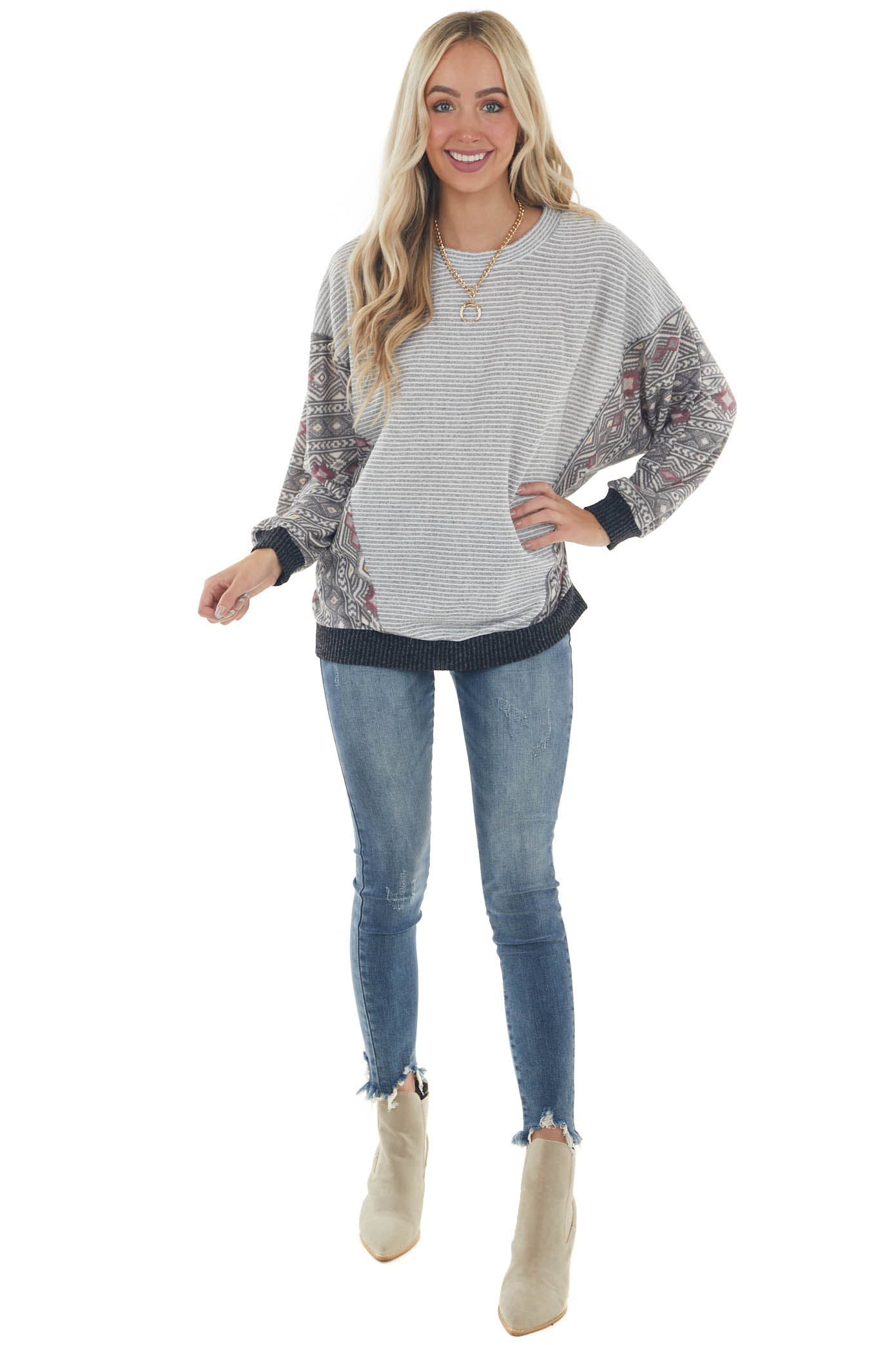 Steel Striped Knit Top with Contrasting Print