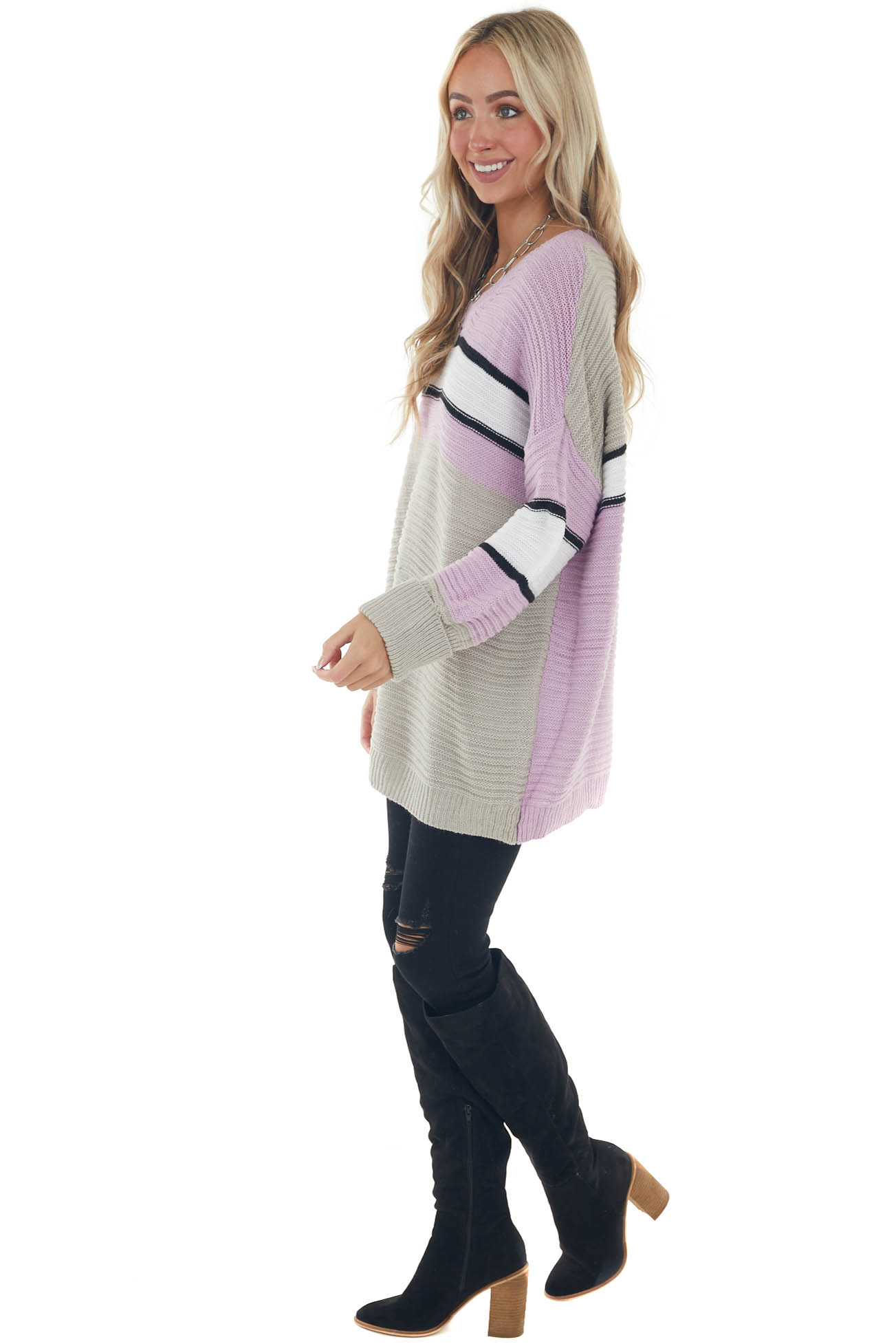 Lilac Colorblock Striped Ribbed Knit Sweater