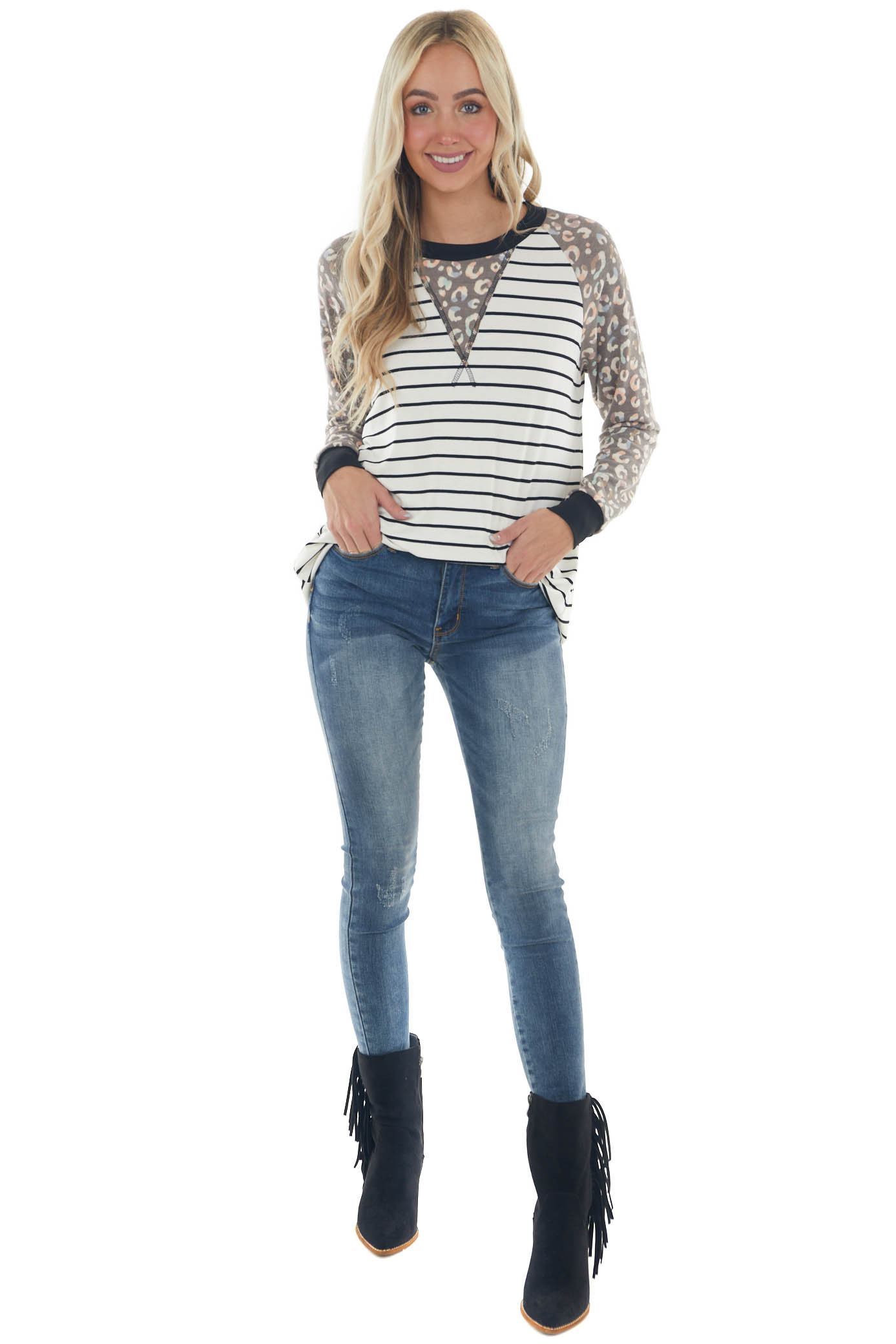 Ivory Striped and Leopard Long Sleeve Knit Top