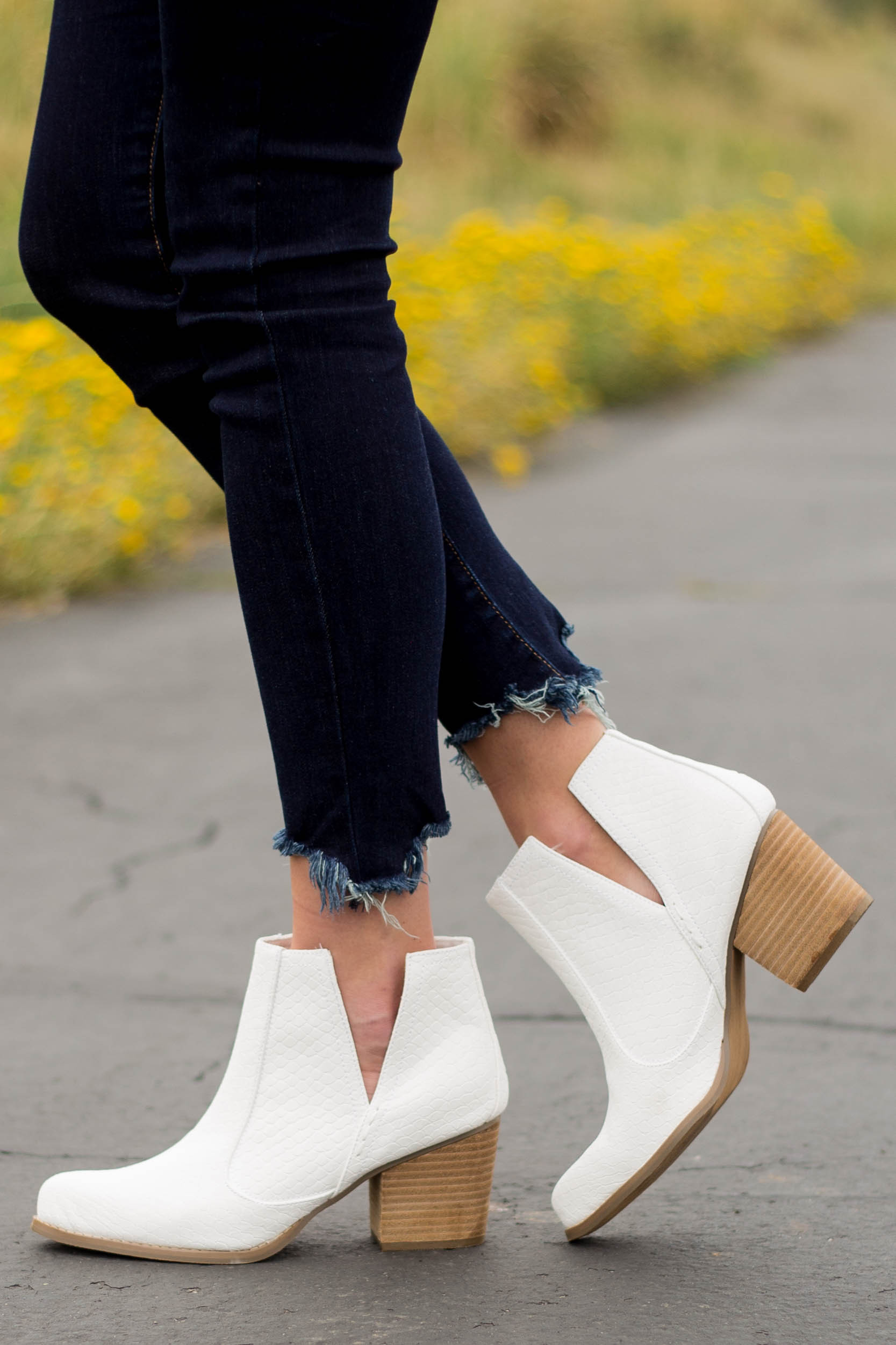 White Snakeskin and Faux Suede Heeled Bootie