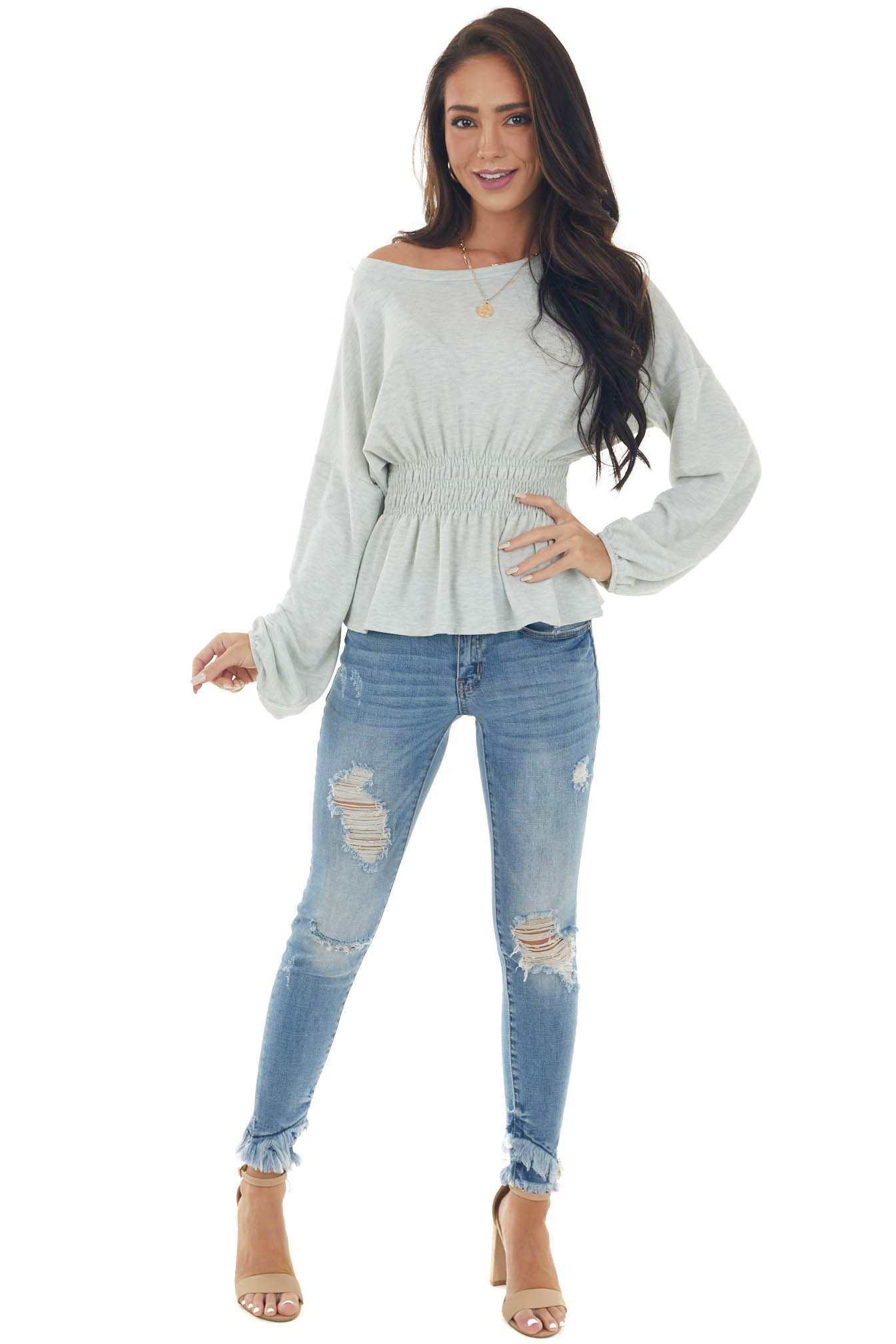 Heather Grey Peplum Knit Top with Long Sleeves