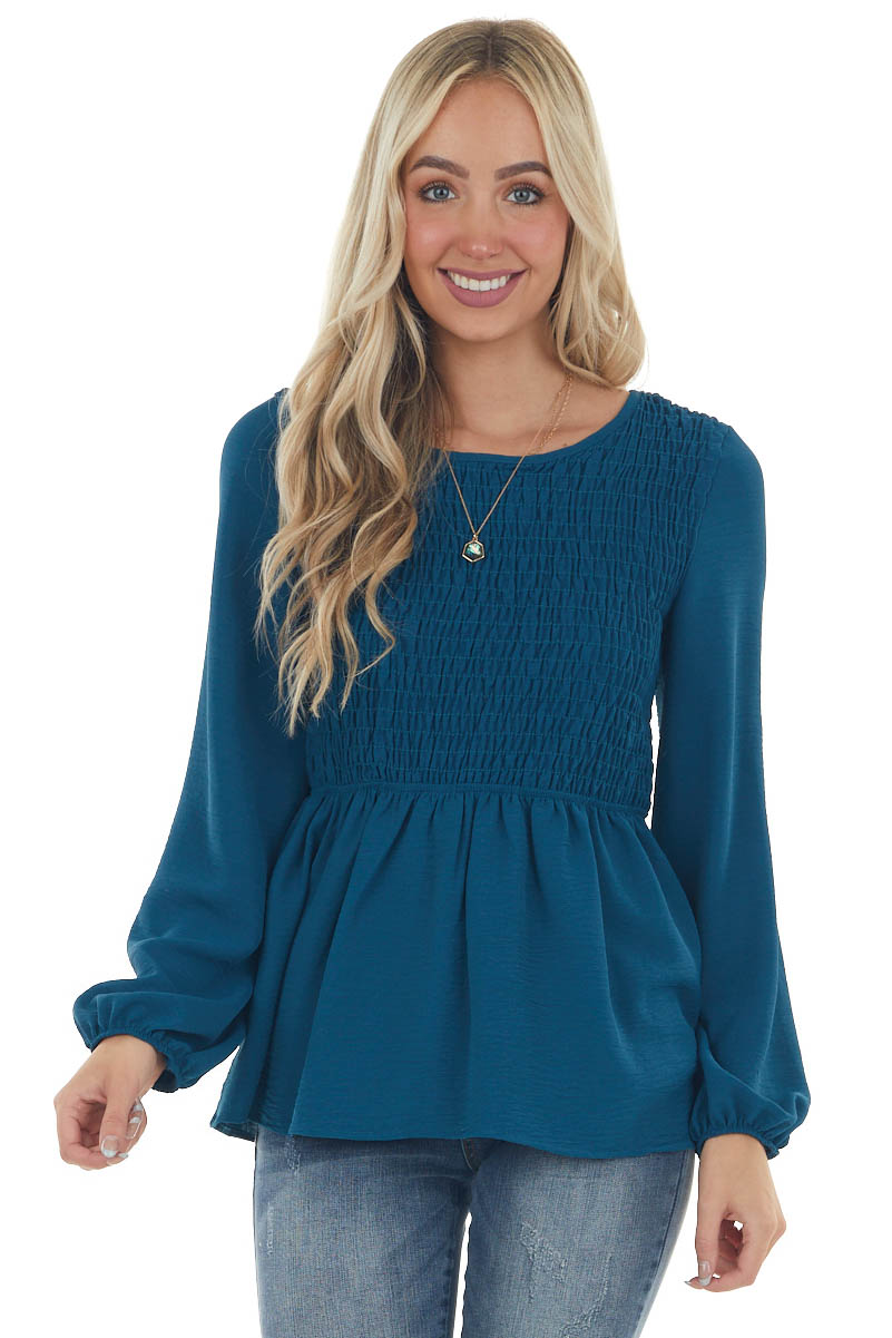Deep Sea Blue Smocked Blouse with Long Sleeves