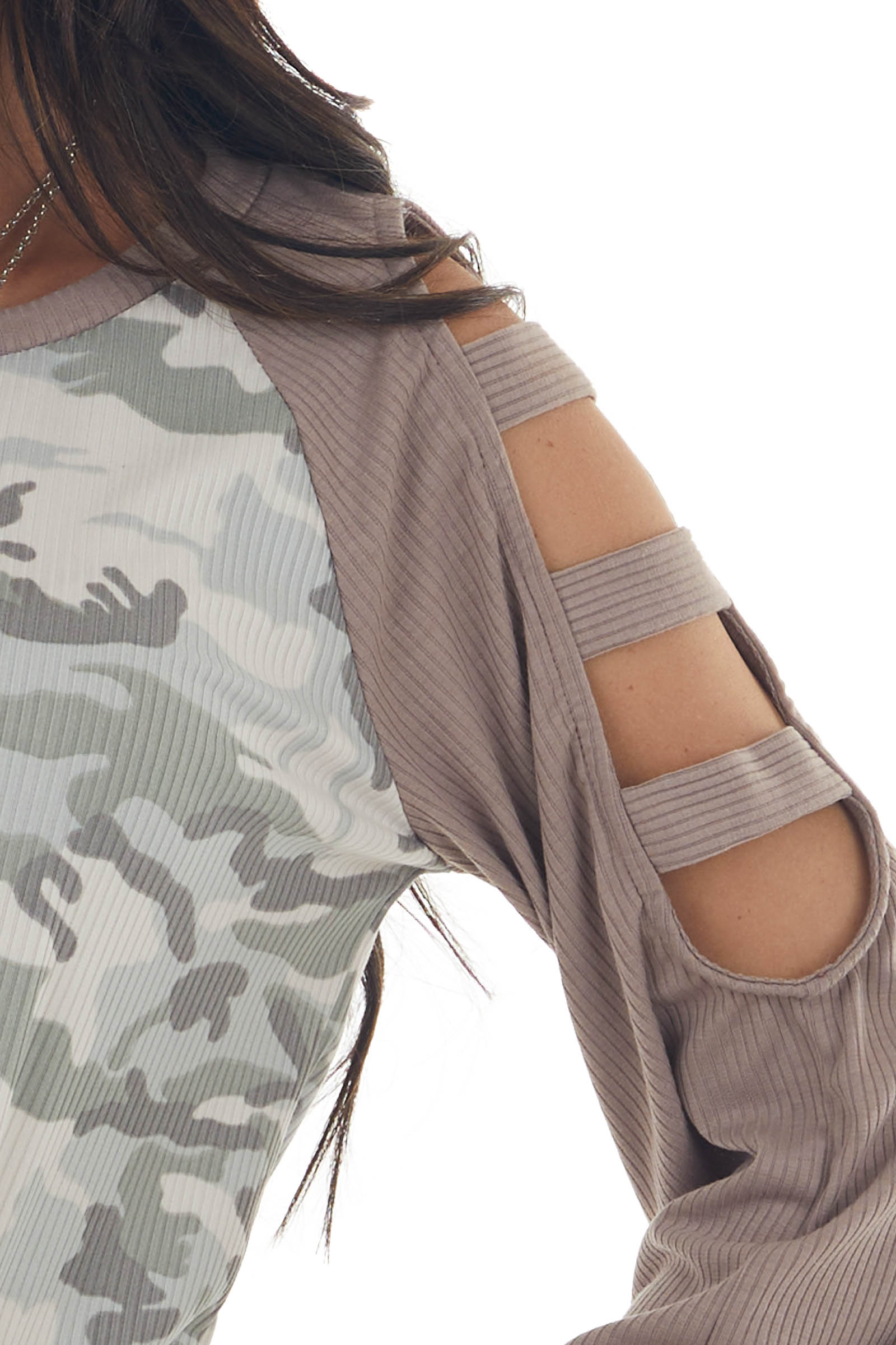 Juniper Camo Top with Ladder Cutout Sleeves