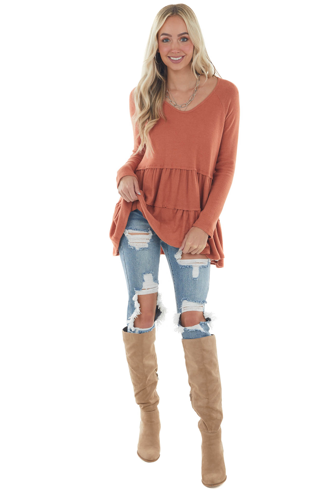 Ginger Tiered Long Sleeve Super Soft Babydoll Top