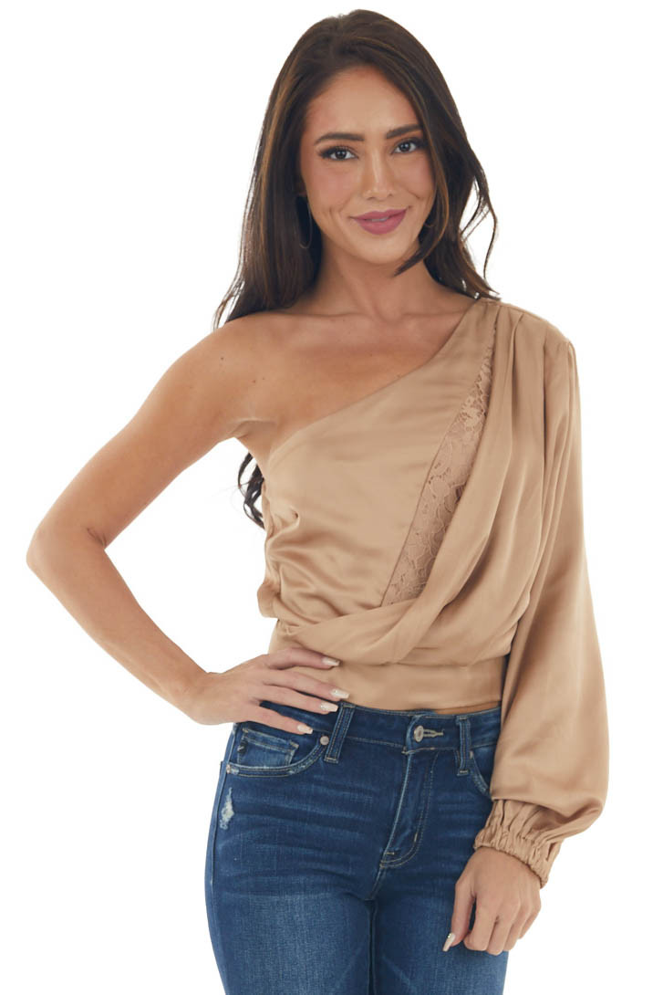 Nude One Shoulder Satin Crop Blouse with Lace