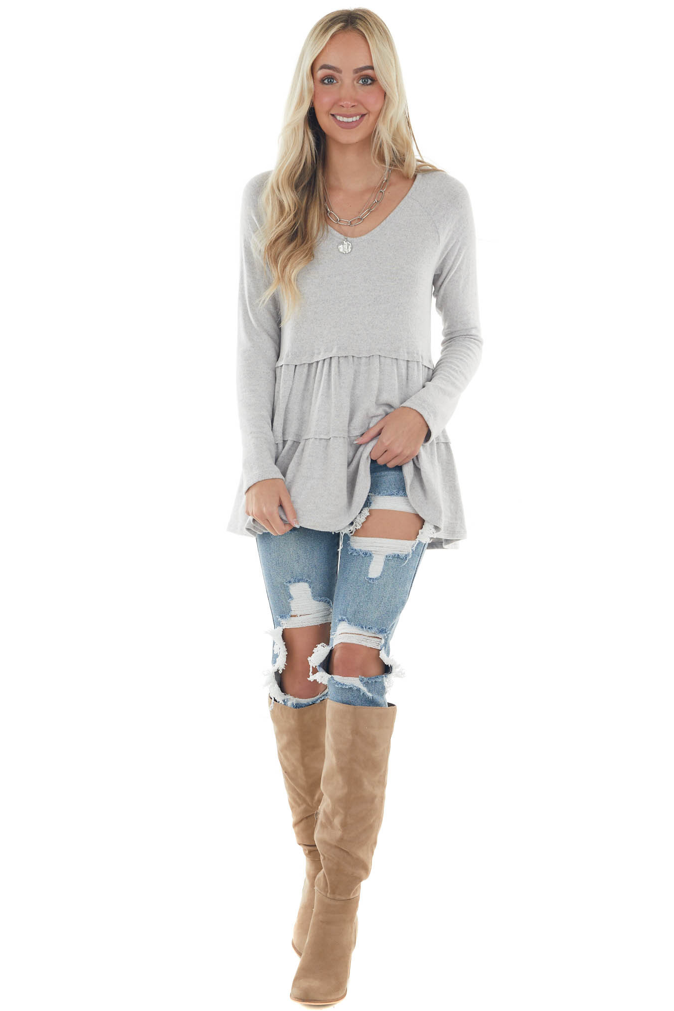Pewter Tiered Long Sleeve Super Soft Babydoll Top