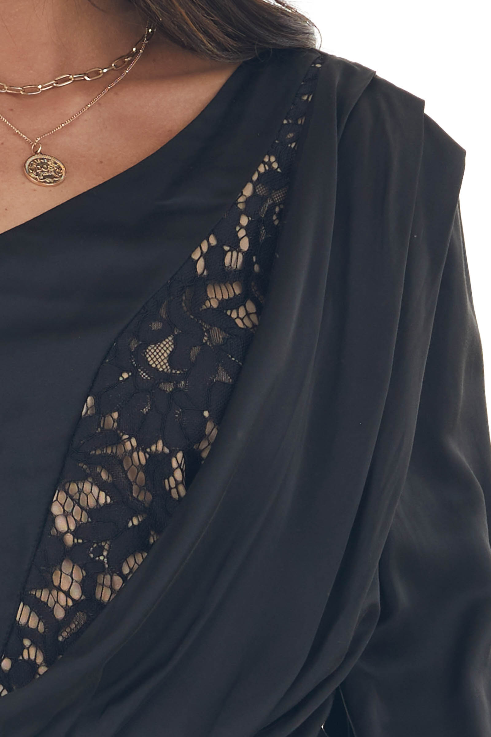Black One Shoulder Satin Crop Blouse with Lace