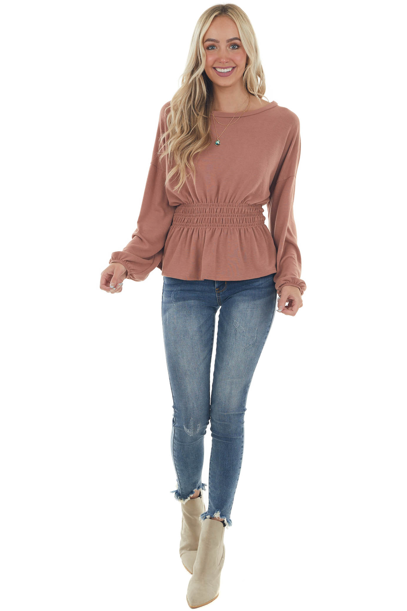 Faded Ginger Peplum Knit Top with Long Sleeves