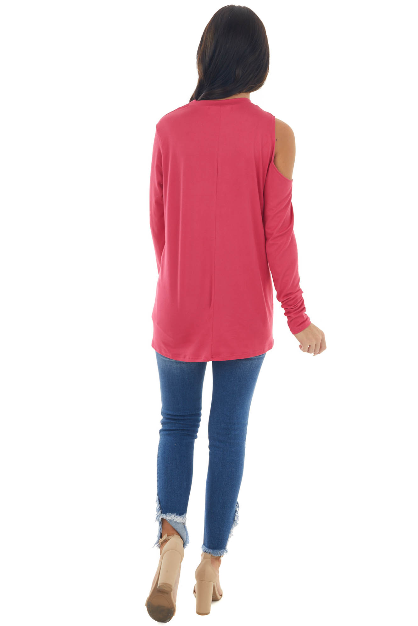 Hot Pink Cold Shoulder Long Sleeve Knit Cut Out Top