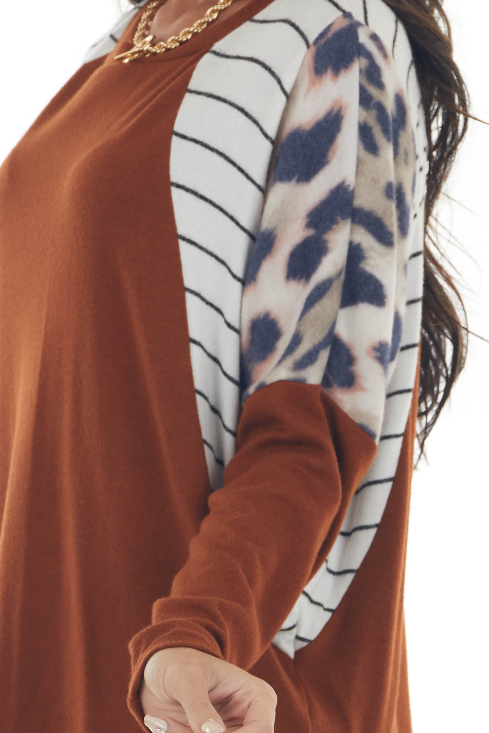 Rust Multiprint Long Sleeve Brushed Knit Top