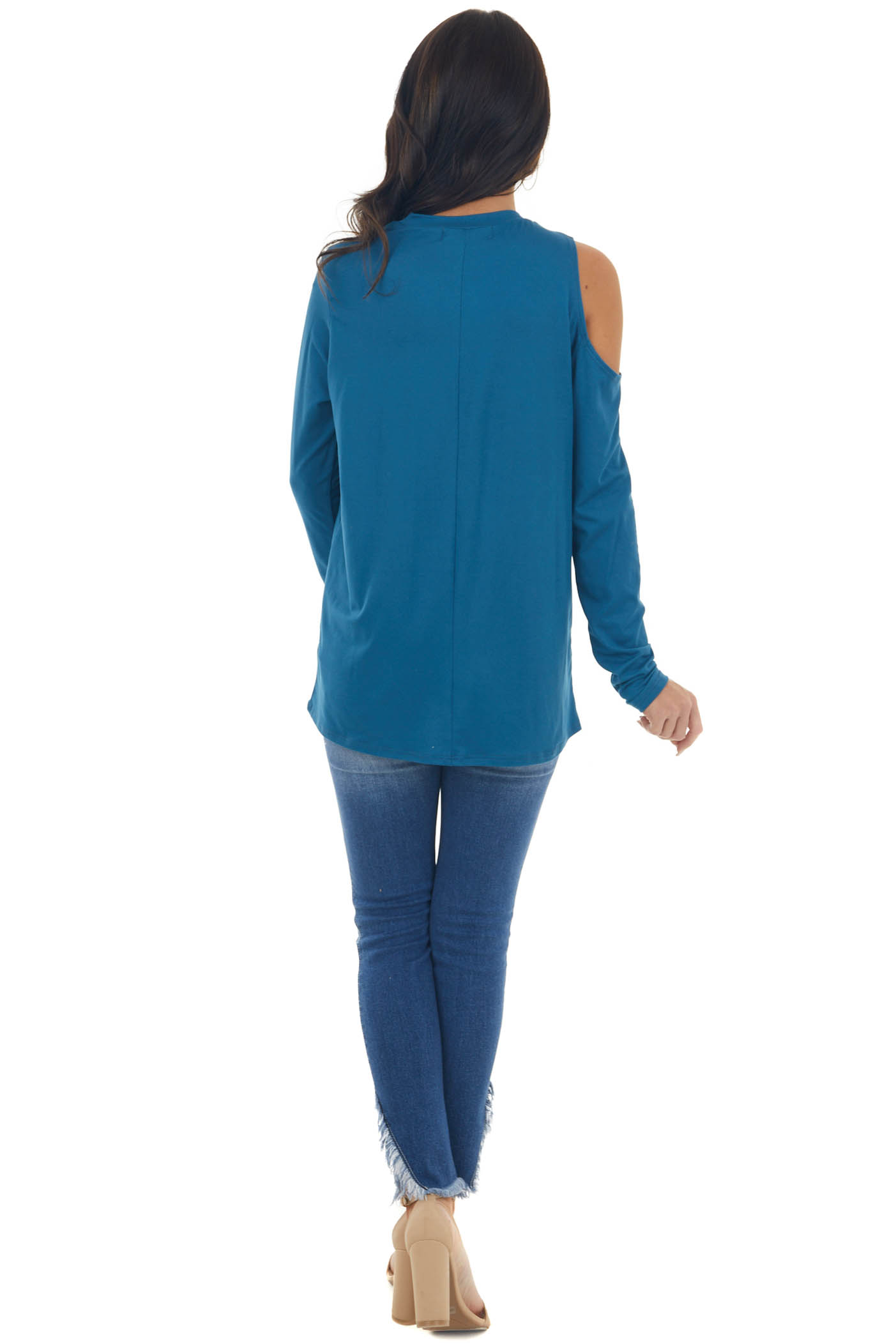Ocean Cold Shoulder Long Sleeve Knit Cut Out Top